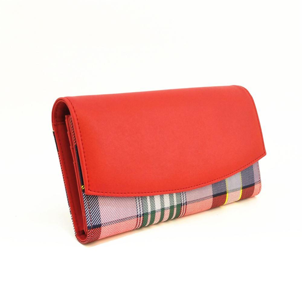 New-Camila-PU-Purse-Tartan-Designer-Style-Pattern-Print-Classic-Lady-Wallet thumbnail 10