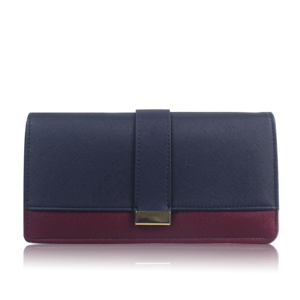 Womens Large Stylish Block Panel Purse Girls Single Fold Wallet