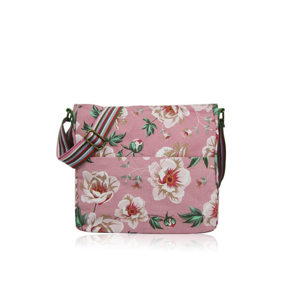 New-Flower-Pattern-Cross-Body-Bag-Multipurpose-Shoulder-Canvas-Print-Black