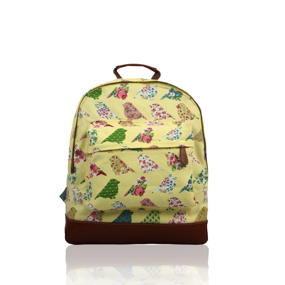 ladies flower floral bird poodle dog canvas backpack rucksack school college bag
