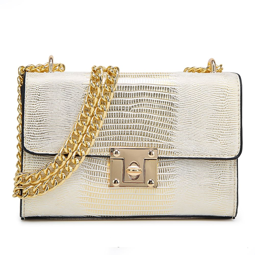 Womens-Party-Metallic-Shoulder-Bag-Structured-Small-Clutch-Chain-Cross-Black-Bag