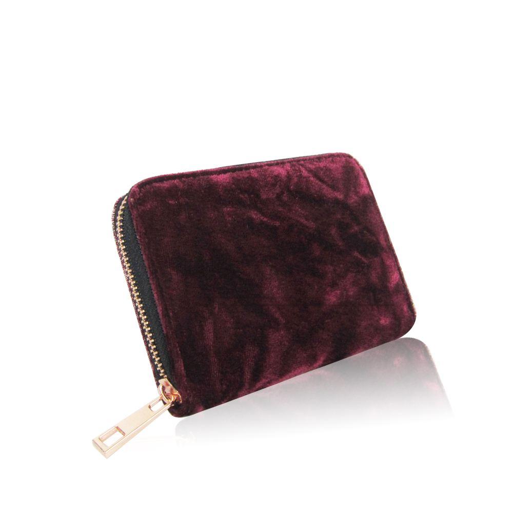 Women-039-s-Designer-Style-Velvet-Small-Zip-Purse-Zip-Close-Wallet-Girls-Purse thumbnail 7