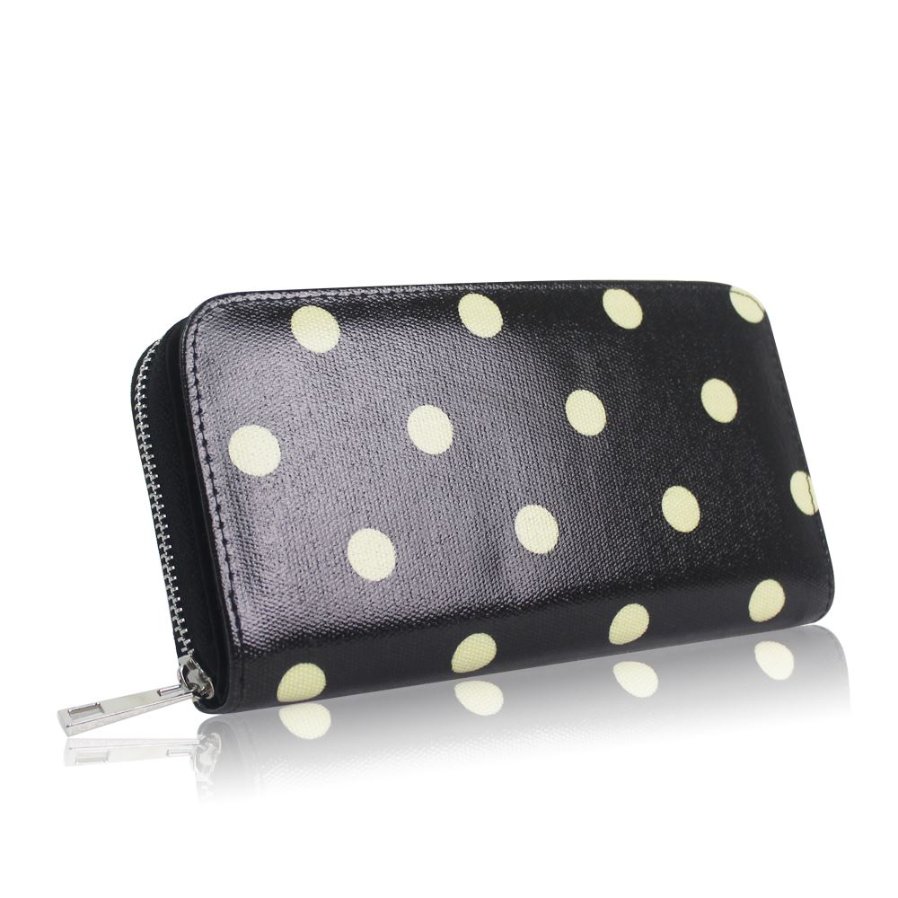 New-Womens-Long-Purse-Girls-Polka-Dot-Print-Wallet-Ladies-Oilcloth-Coin-Purse thumbnail 3
