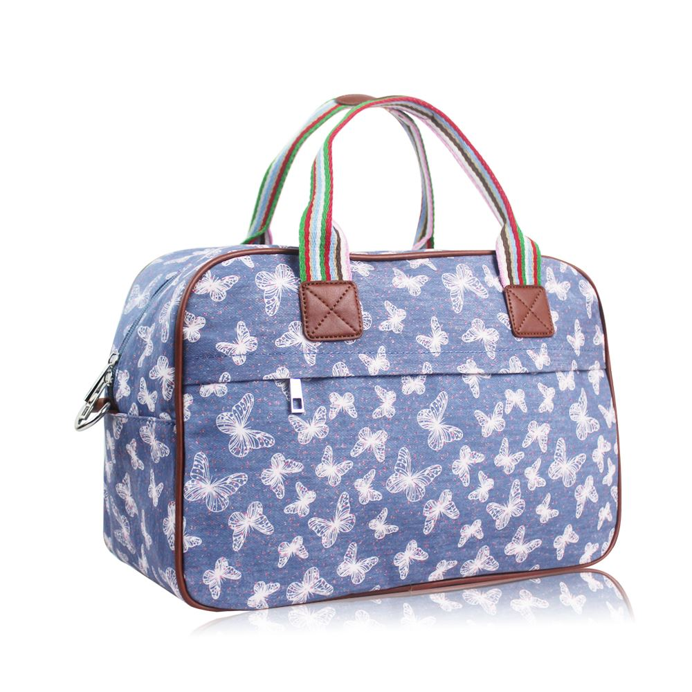 5df9e65c29 Women s Large Weekend Bag Ladies Butterfly Print Overnight Bag Girls ...