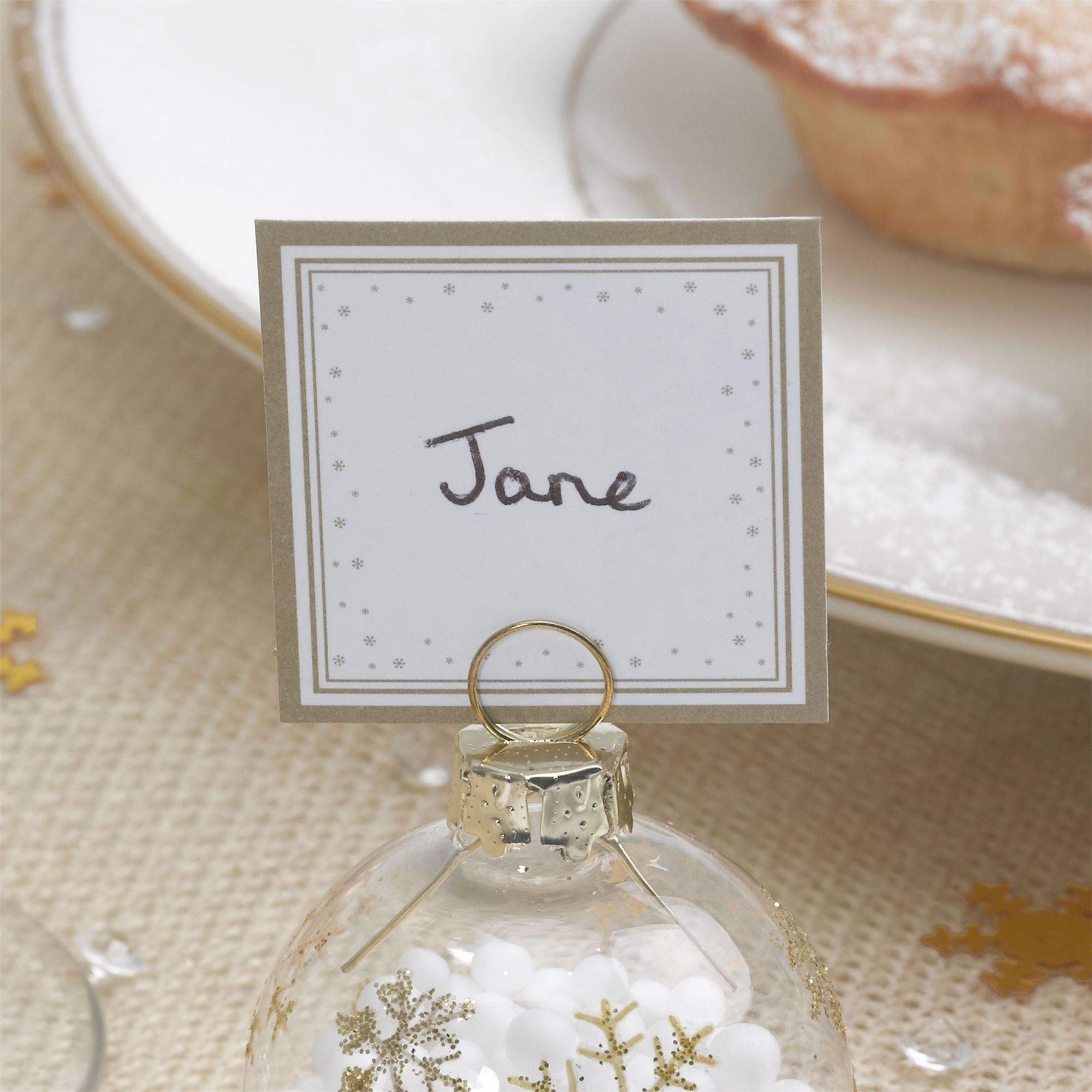 6 BAUBLE PLACE CARD HOLDERS OR 10 PLACE