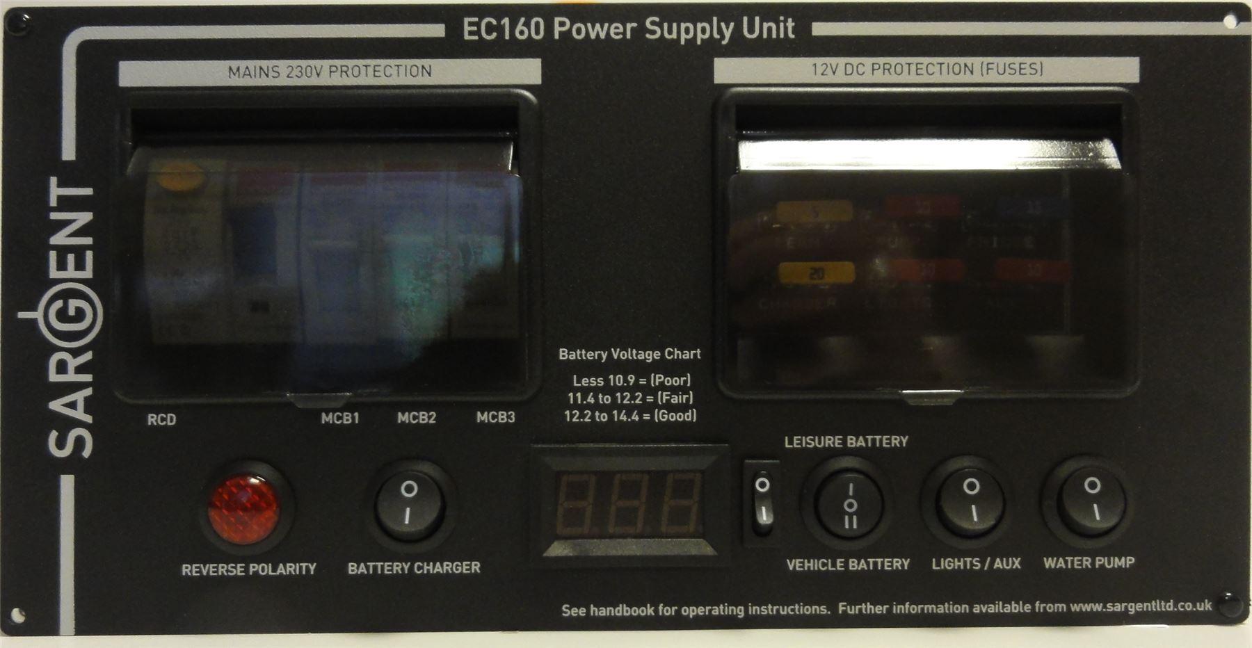 Sargent Ec160h Pms3 230v Campervan Motorhome Power Management System Wiring Diagram Rcd 240v For A Caravan The Ec160 Unit In Black