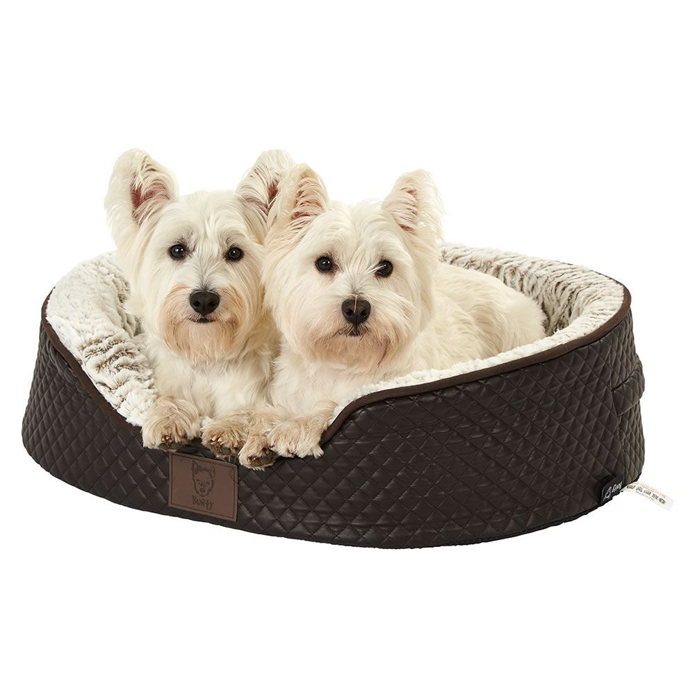 thumbnail 4 - Bunty-Manhattan-Luxury-Quilted-Leather-Soft-Fur-Fleece-Dog-Bed-Pet-Cat-Basket