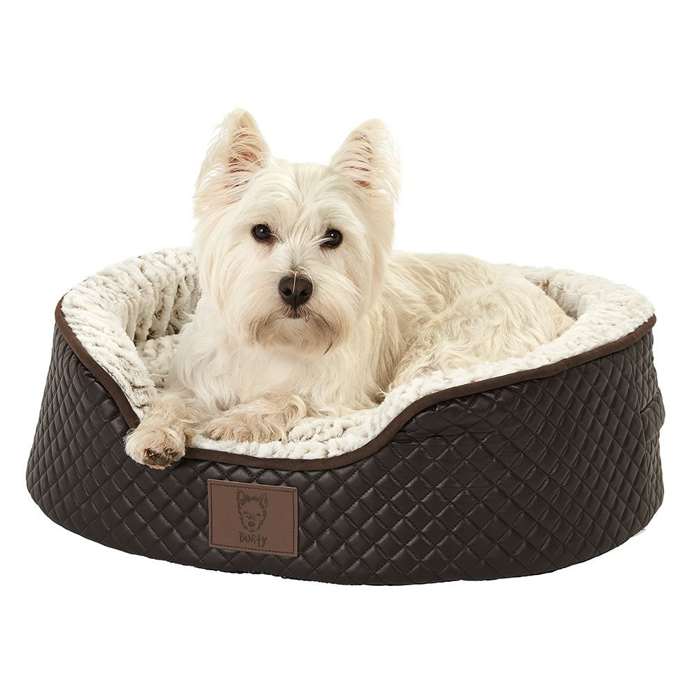 thumbnail 6 - Bunty-Manhattan-Luxury-Quilted-Leather-Soft-Fur-Fleece-Dog-Bed-Pet-Cat-Basket