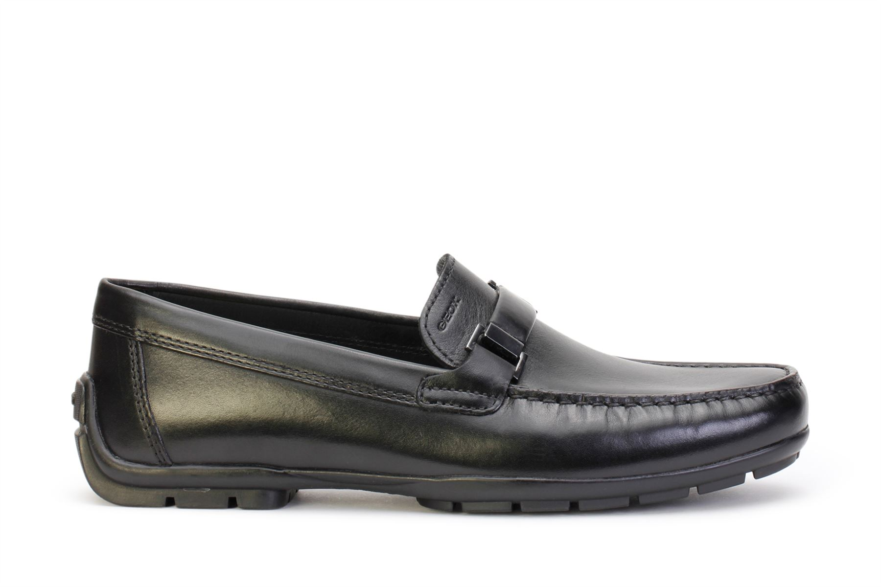 9aaacf68ee Details about Geox Men's Slip On Shoes U Moner W 2Fit Black Leather U74Q6A