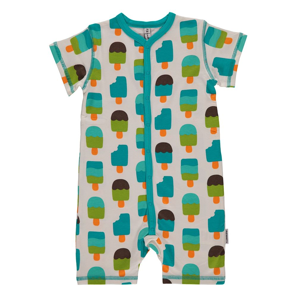 DUNS Sweden Organic Cotton Baby Onesie Pelican with Short Sleeves