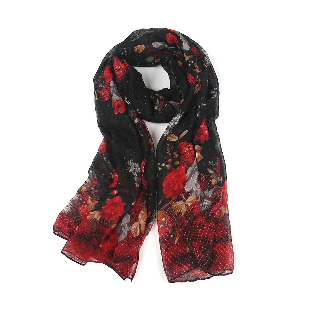 Ladies Ombre Two Tone Flower Printed Hijab Maxi Head Scarf Wrap Ebay Image Is Loading