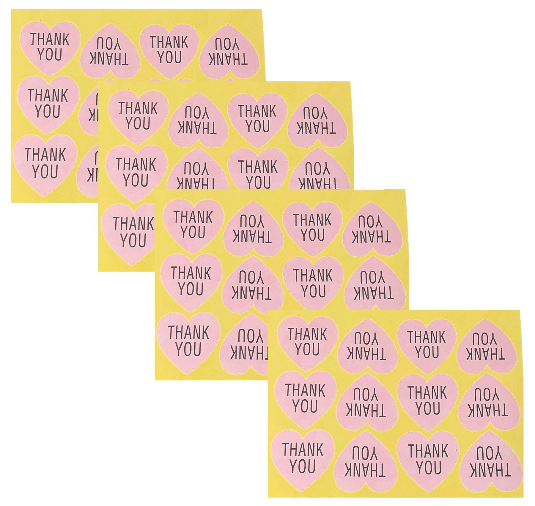 Baby Pink Thank You Sticker Labels Wedding Teacher Craft Favours ...