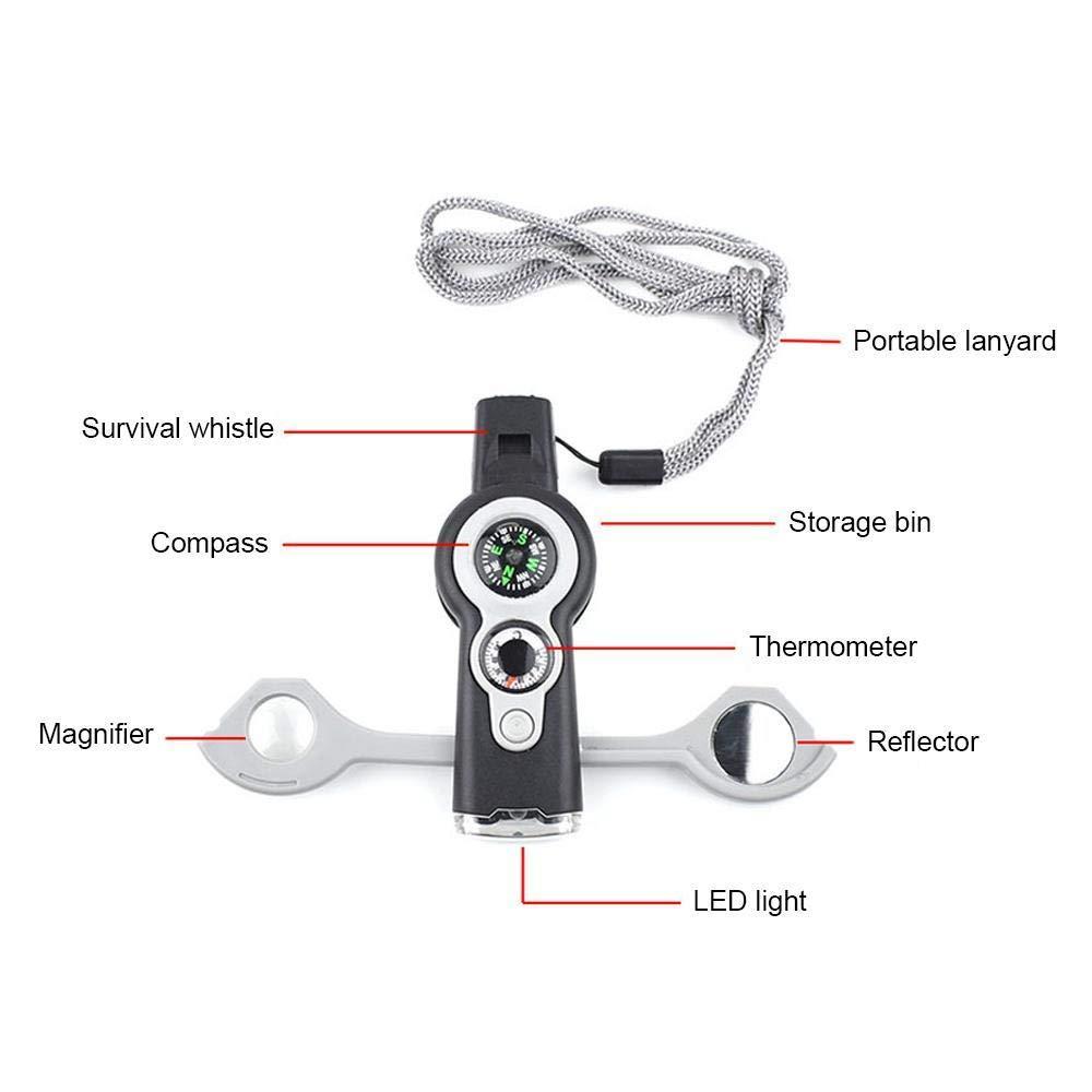 Multifunzione 7 in 1 Fischio Di Sopravvivenza Termometro Della Bussola Del Led Flash Light Touch Magnifier Outdoor Sports Essenziale Strumento