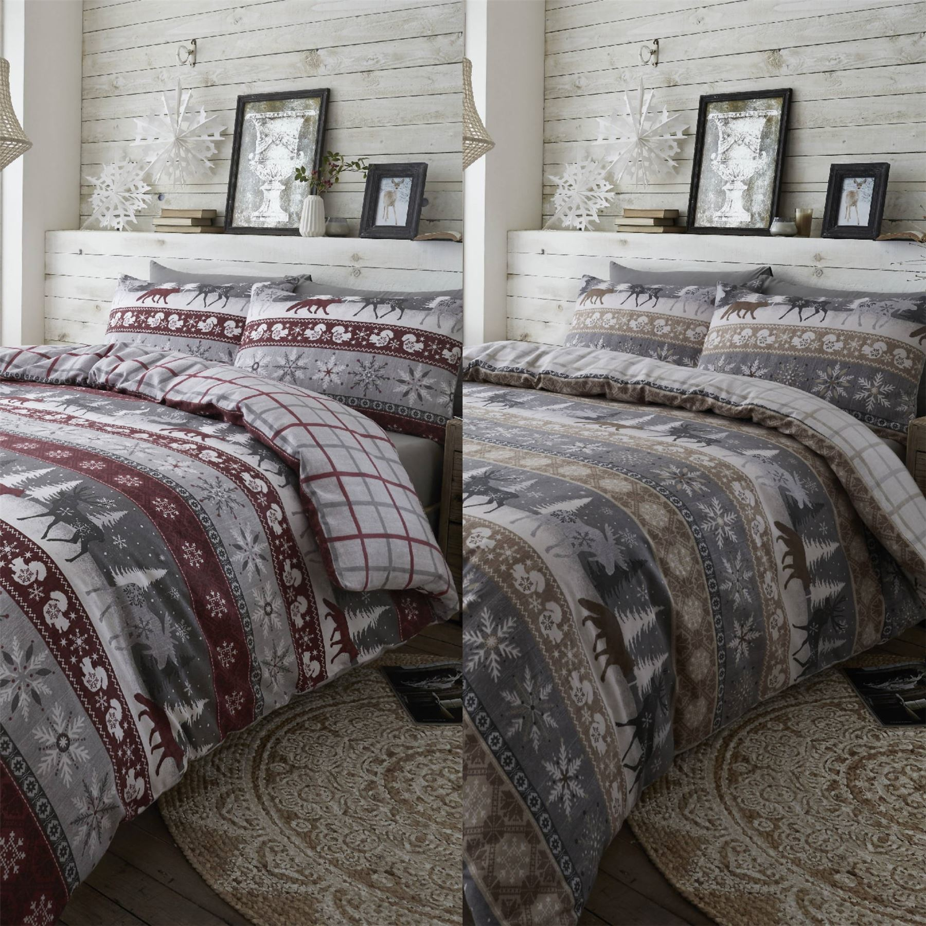 Hlc 100 Brushed Cotton Nordic Scandi Hygge Warm Reversible Duvet Cover Set Ebay