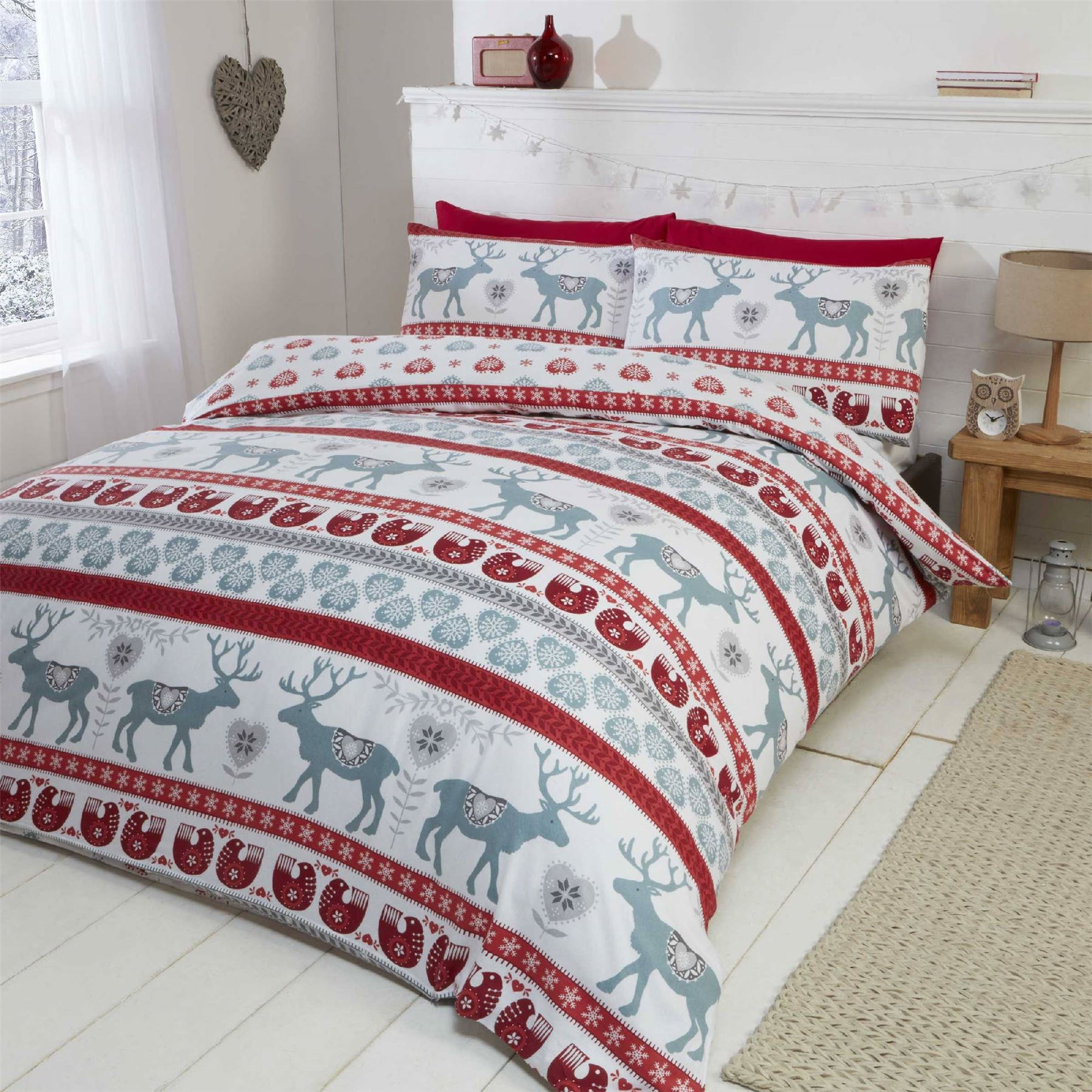 black set cover bed duvet xmas reindeer itm white bedding christmas stag new quilt postcard santa