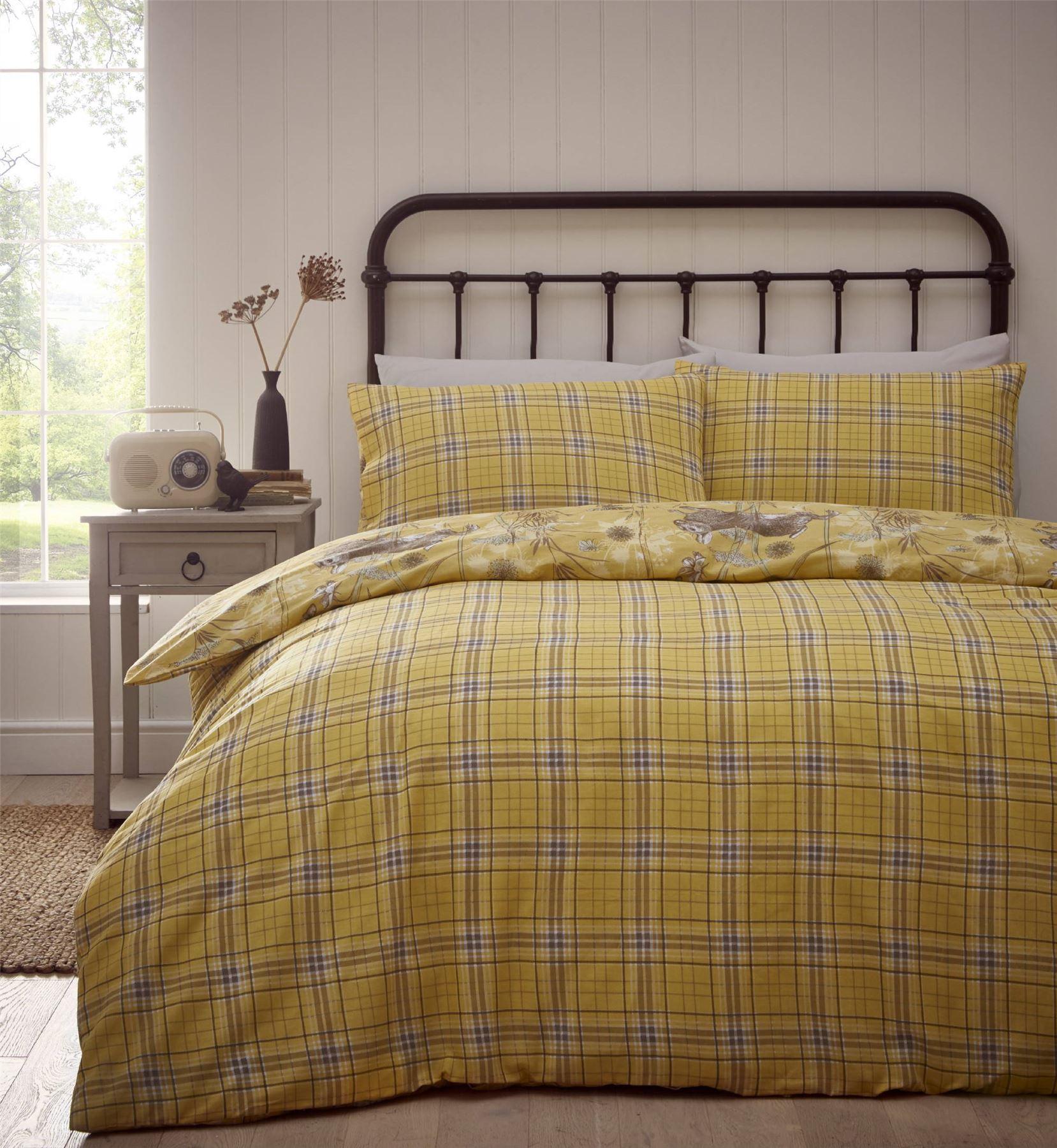 Rabbit-Meadow-Animals-Reversible-Check-Tartan-Duvet-Cover-Bedding-Bed-Set thumbnail 5