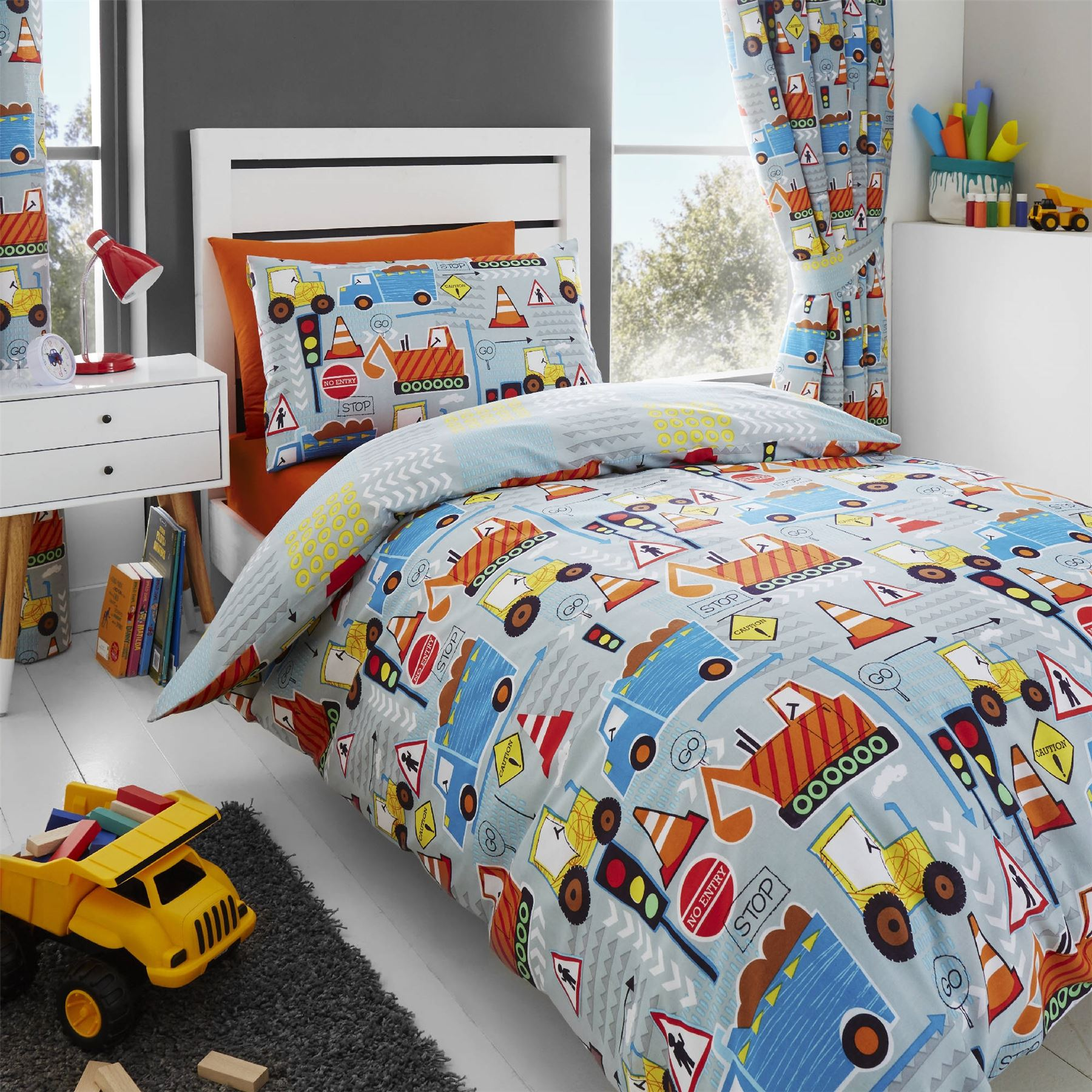 happy linen co big digger trucks boys childrens duvet cover