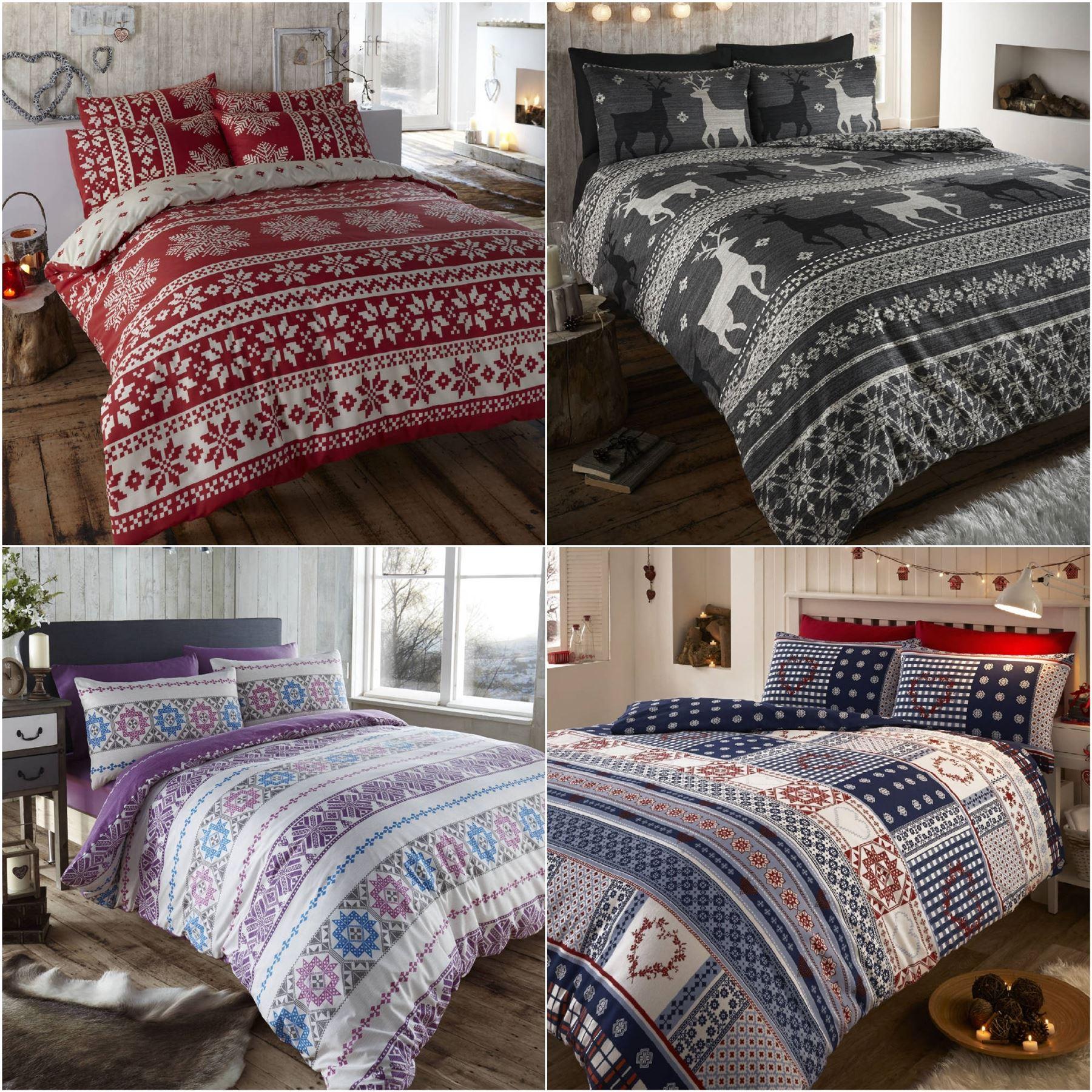 nordic fair isle scandinavian winter duvet quilt cover bedding set  - sentinel nordic fair isle scandinavian winter duvet quilt cover bedding set
