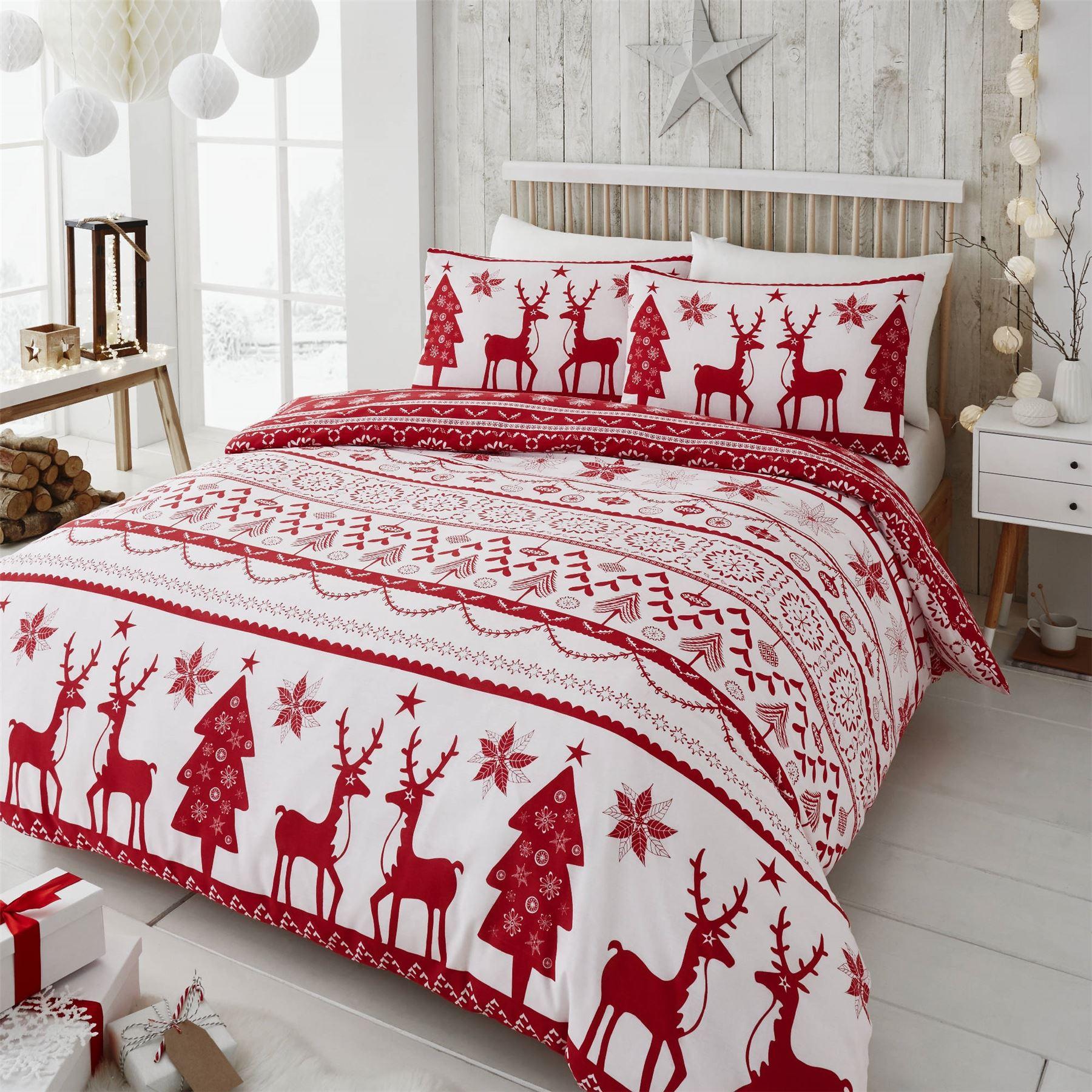 Christmas Bed Linen Sets Part - 34: Happy-Linen-Co-Festive-Scandi-Nordic-Christmas-Duvet-