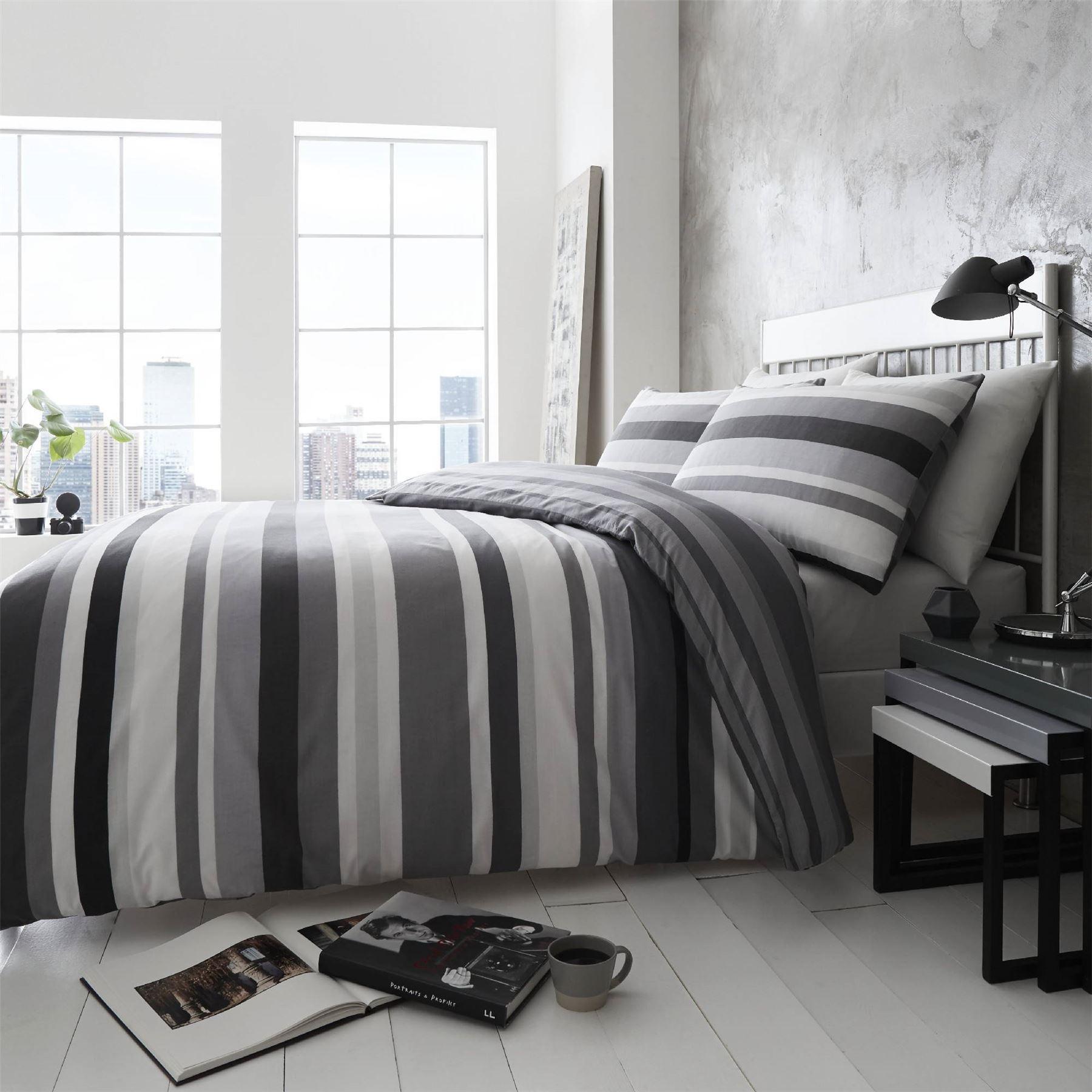 Hlc Simply Stripes Black Charcoal Grey White Reversible Duvet Cover Bedding Set Ebay