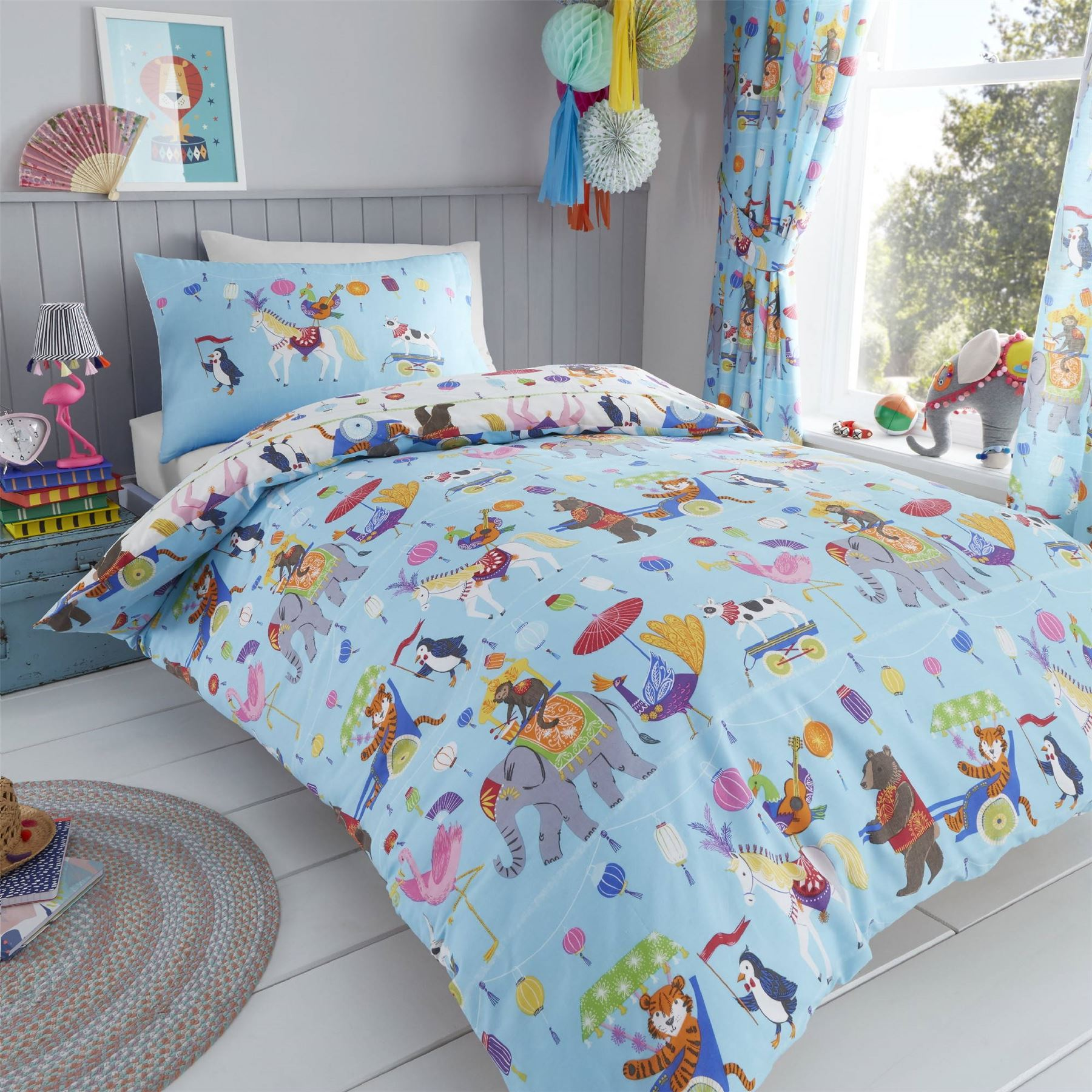 Hlc Boys Girls Circus Animals Lion King Blue White Duvet Cover Bedding Curtains Ebay