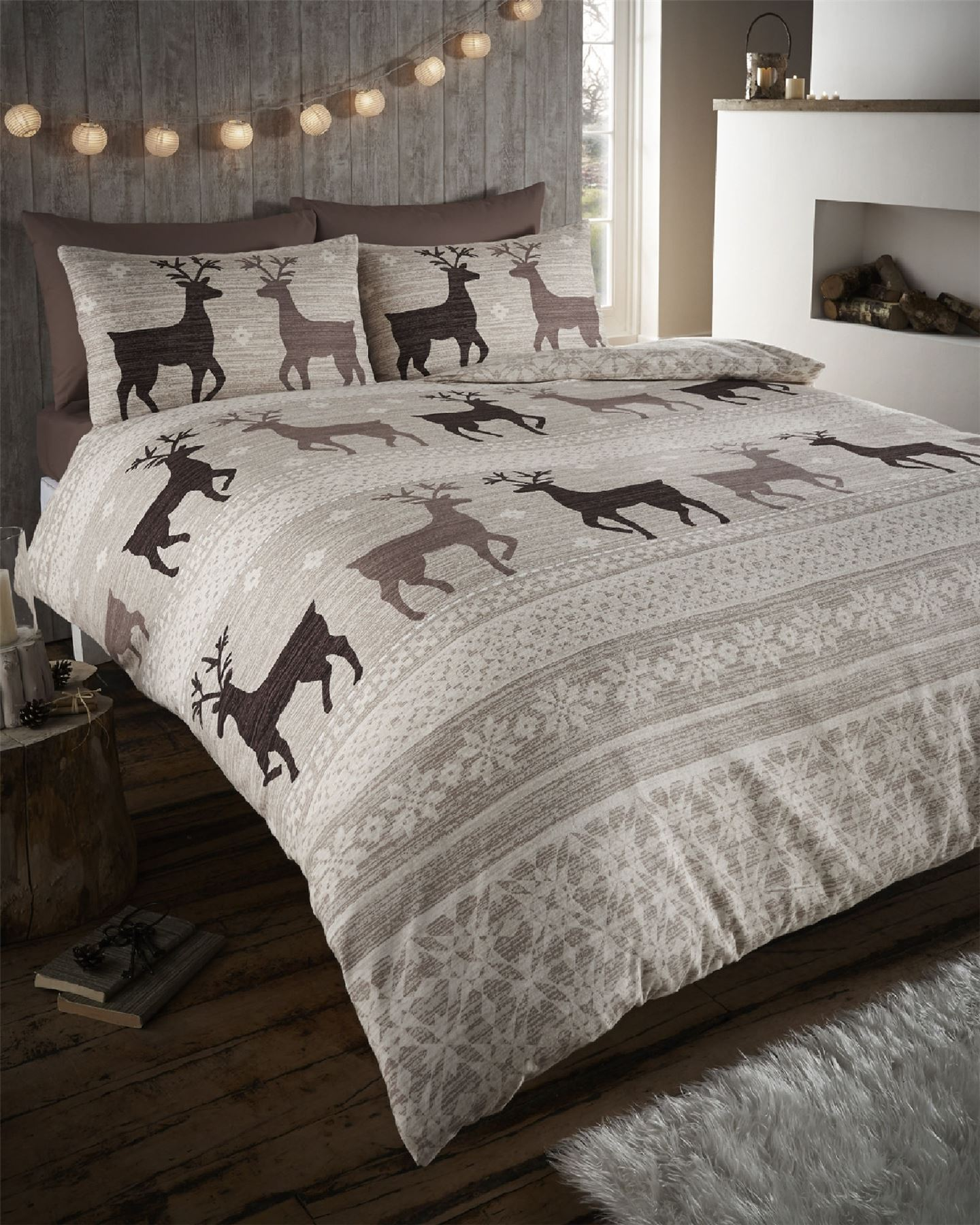 stag deer winter christmas duvet quilt cover bedding set ebay. Black Bedroom Furniture Sets. Home Design Ideas