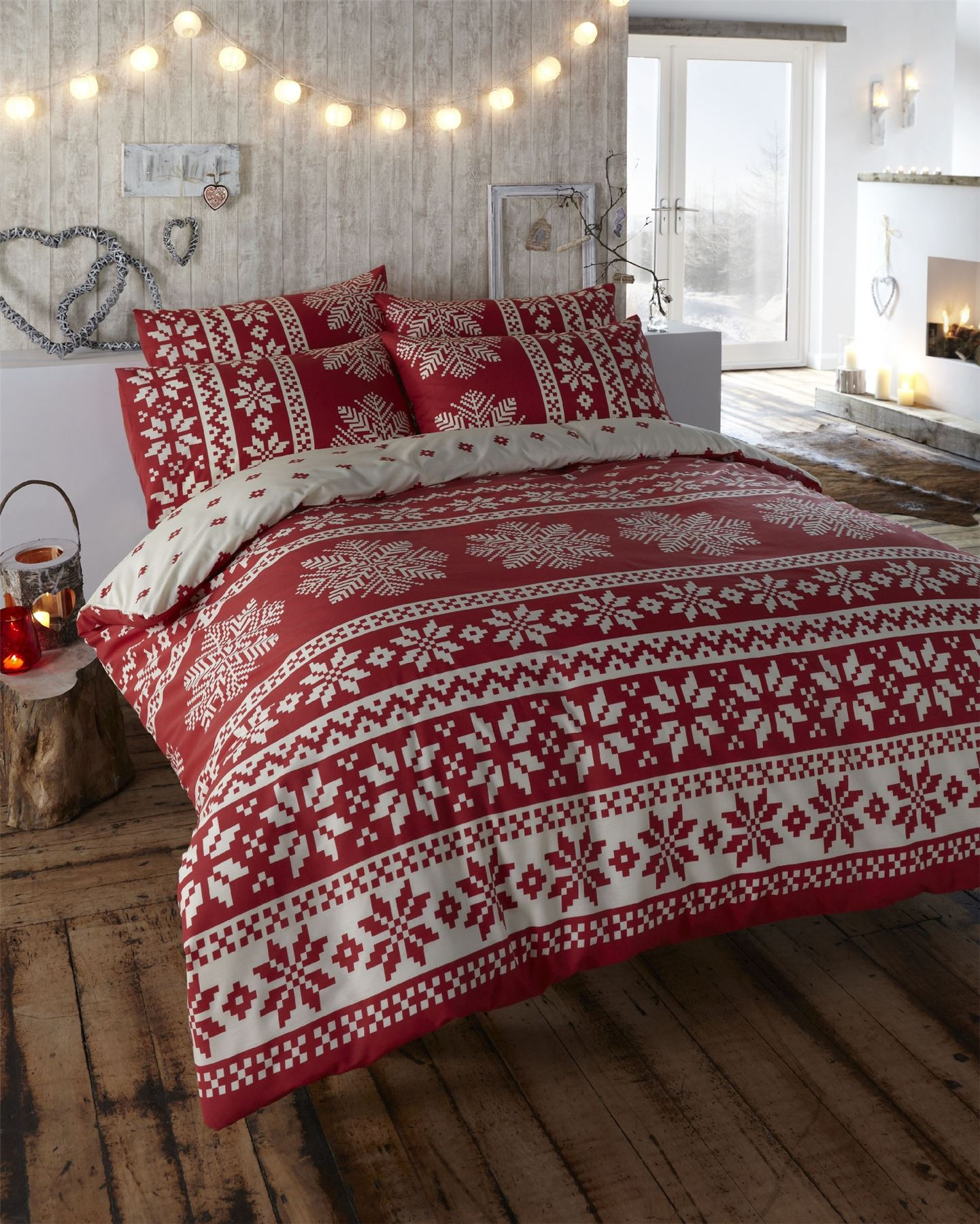 Retro Nordic Alpine Snowflake Duvet Quilt Cover Bedding Set