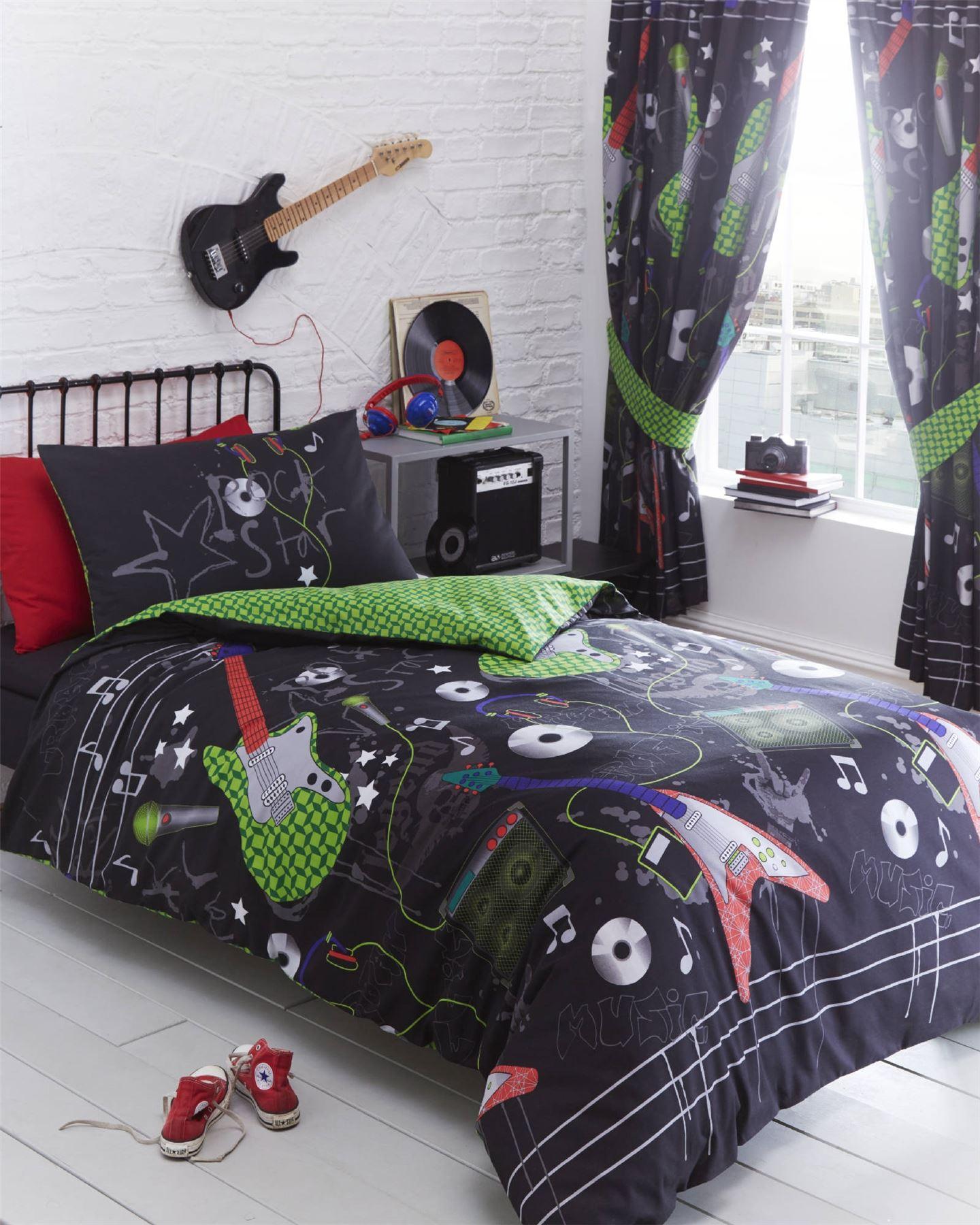 Guitar rock star boys teen black reversible duvet cover for Guitar bedding for boys