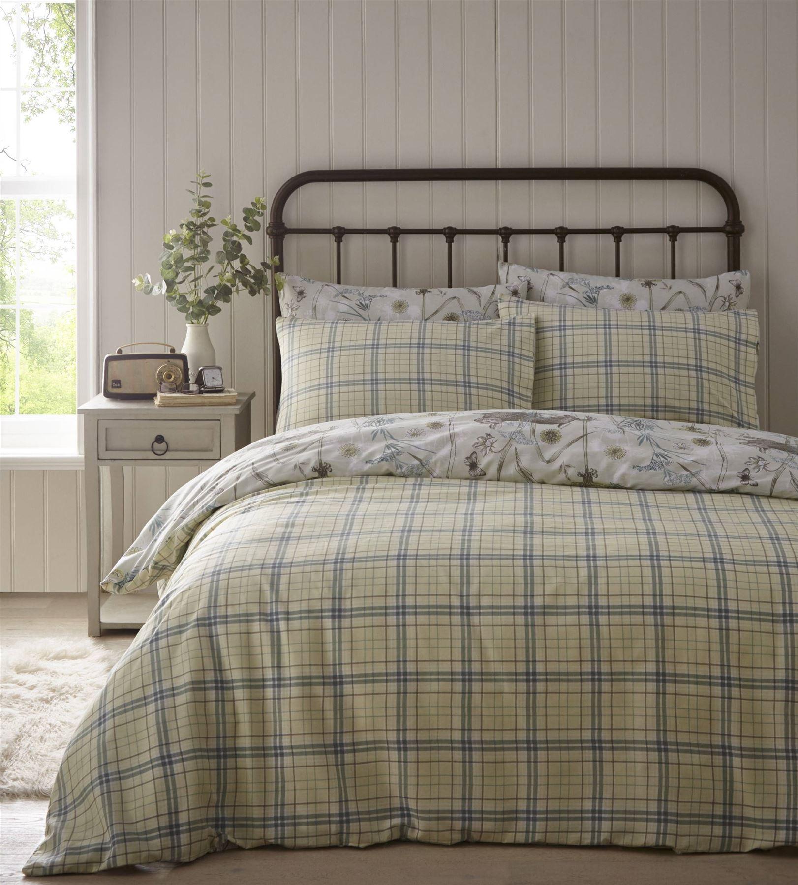 Rabbit-Meadow-Animals-Reversible-Check-Tartan-Duvet-Cover-Bedding-Bed-Set thumbnail 3