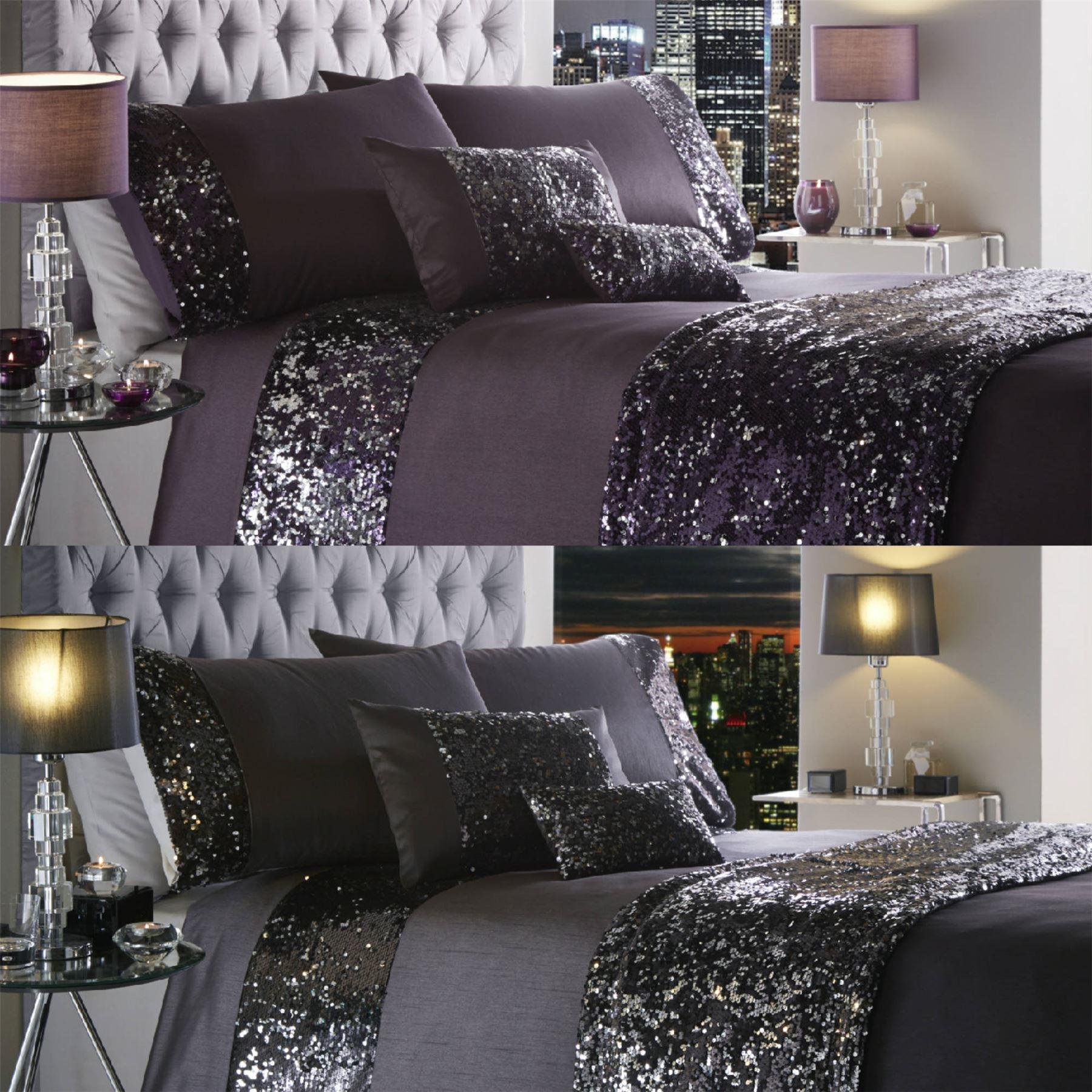 luxury sequin duvet quilt cover bedding set dazzle ebay. Black Bedroom Furniture Sets. Home Design Ideas