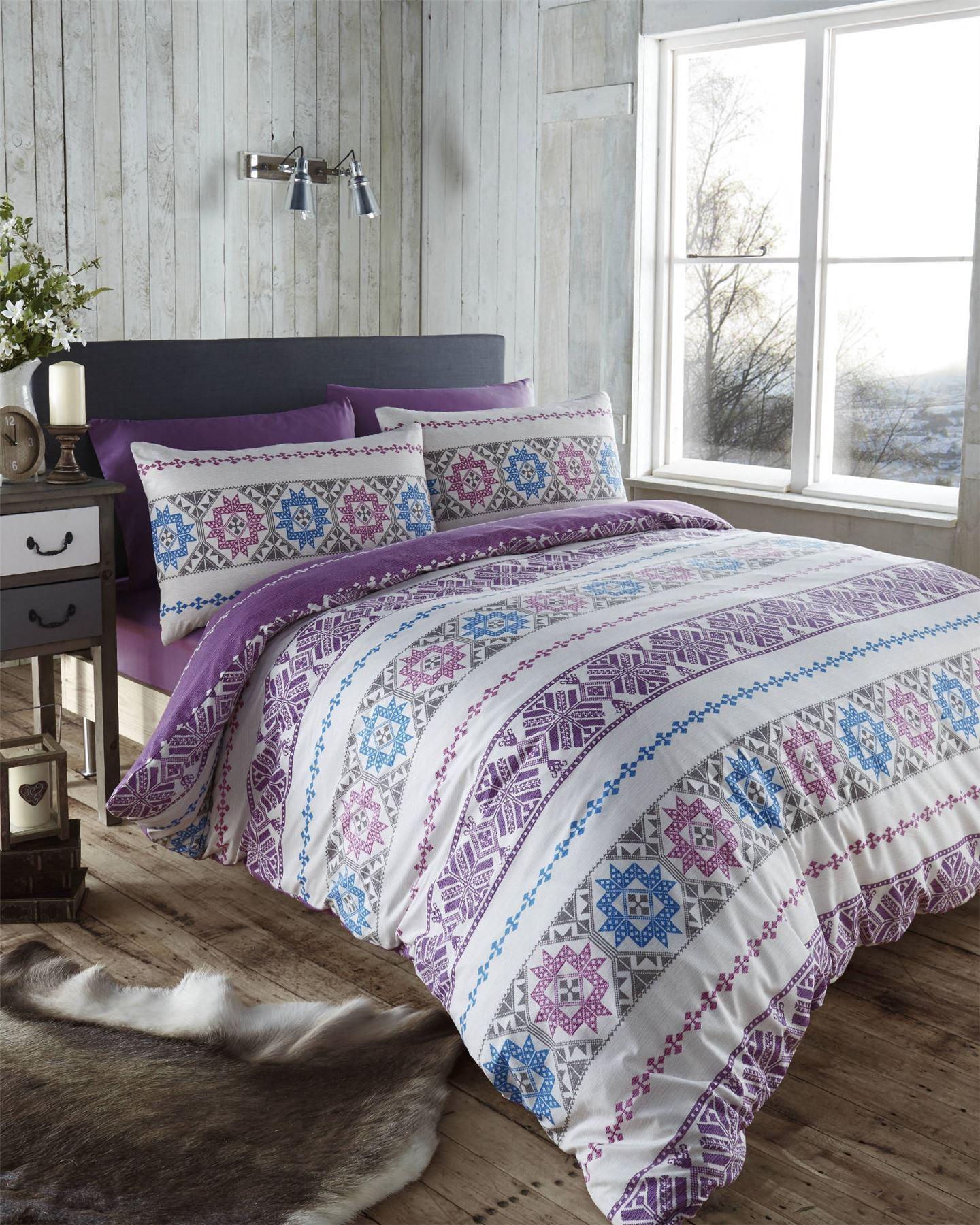 nordic fair isle scandinavian winter duvet quilt cover bedding set  - nordicfairislescandinavianwinterduvetquiltcover