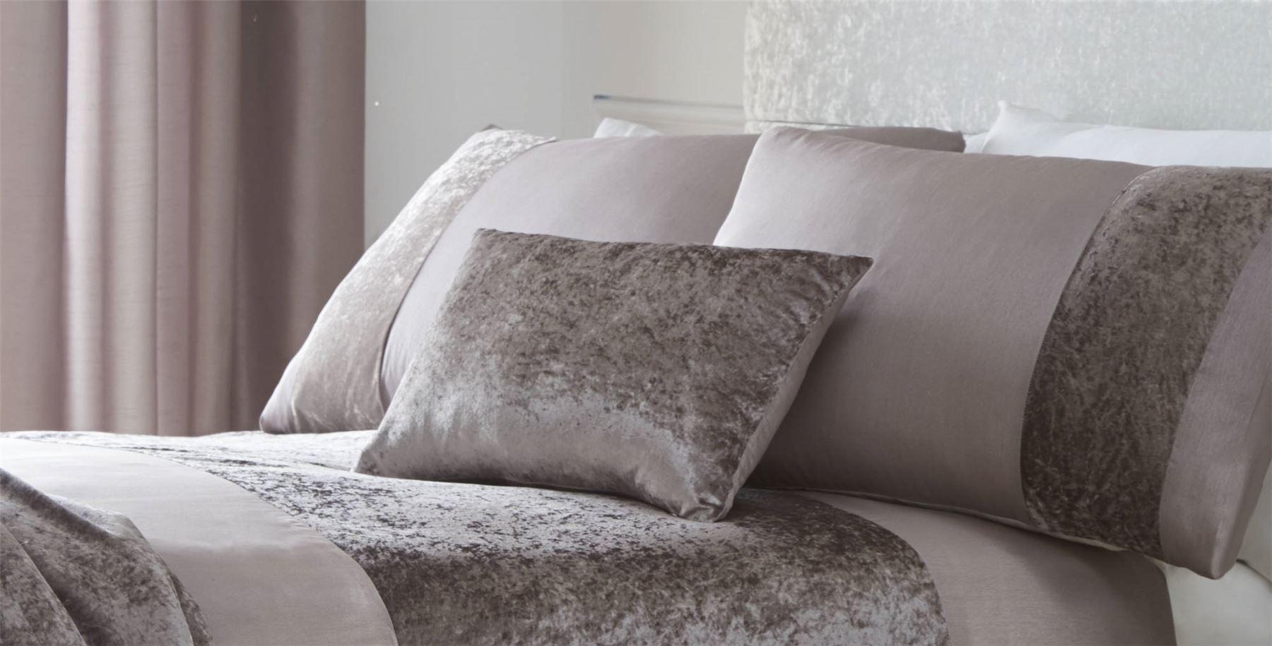 Luxury Crushed Velvet Panel Duvet Cover Bedding Set