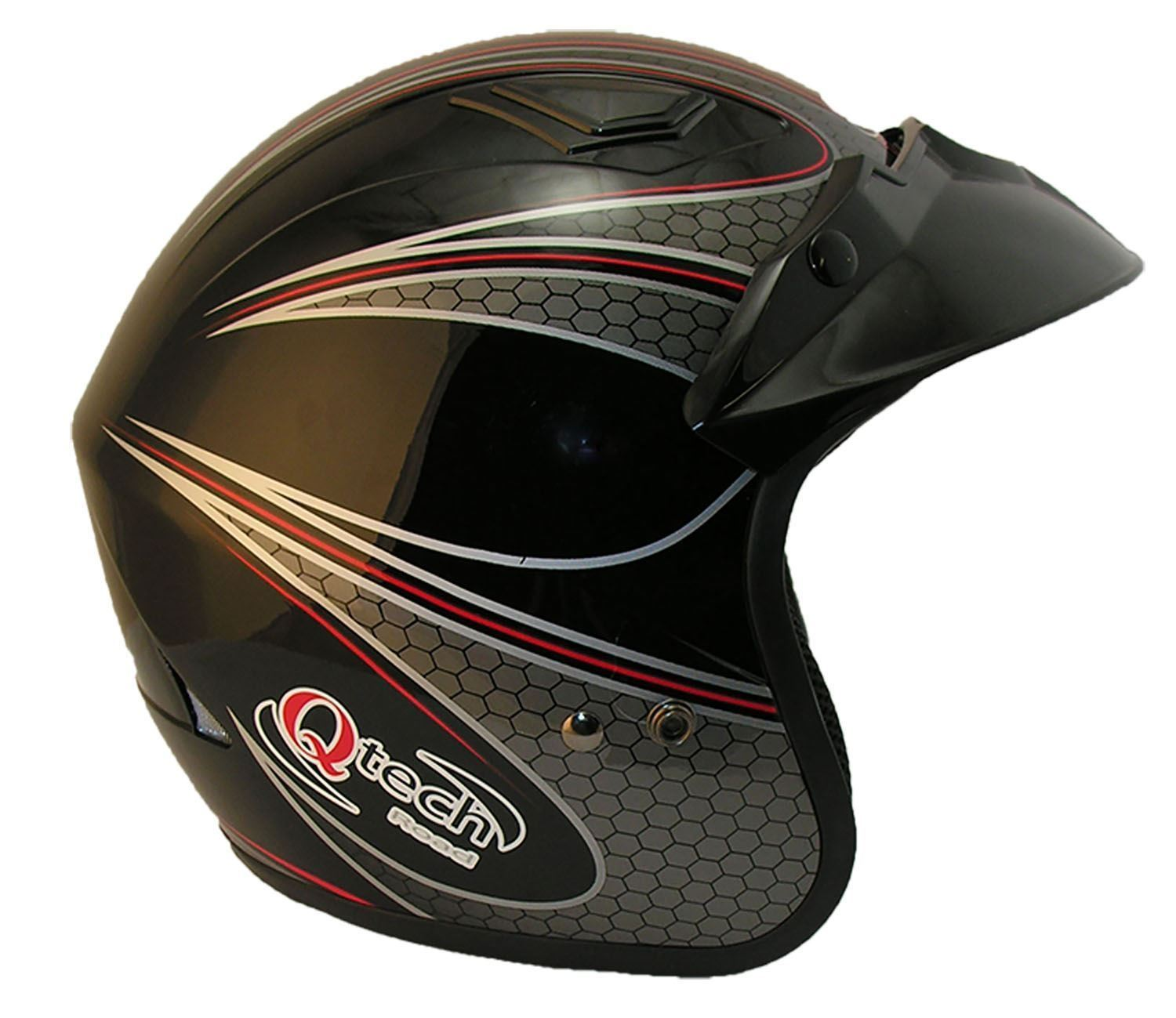 OPEN-Face-MOTORCYCLE-Scooter-BLACK-WHITE-Red-Crash-HELMET-MotorBike-Trials