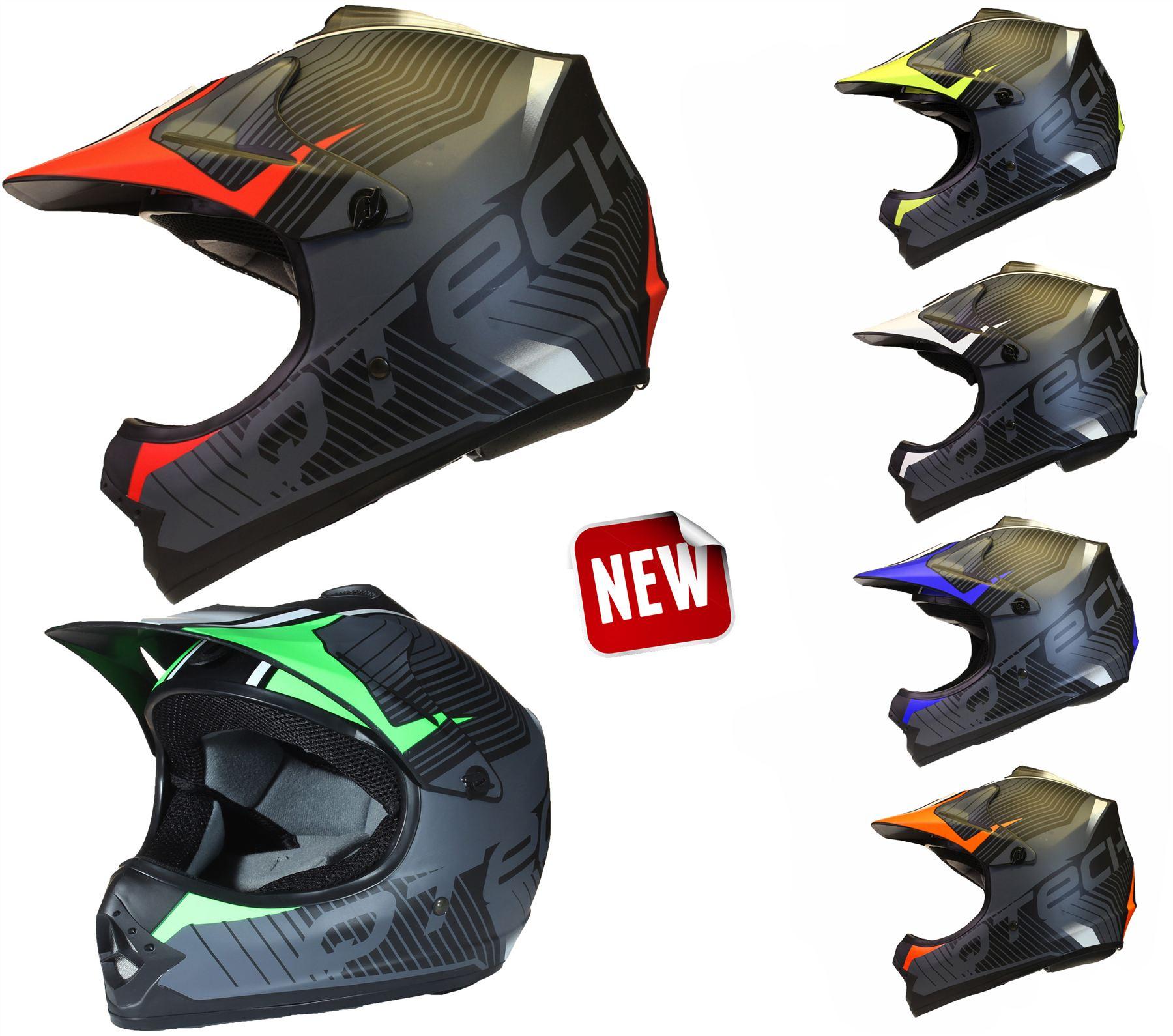 Small Qtech Childrens KIDS MOTOCROSS MX Style Helmet BMX Quad Bike Spectre by Yellow