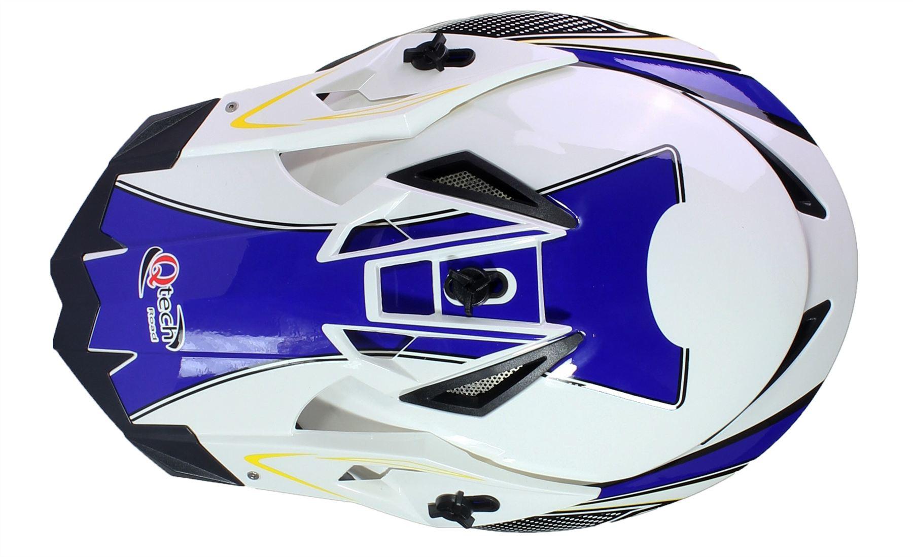 59-60cm Qtech Casque de Motocross Moto Helm Enduro Quad ATV FMX MTB MX L Noir
