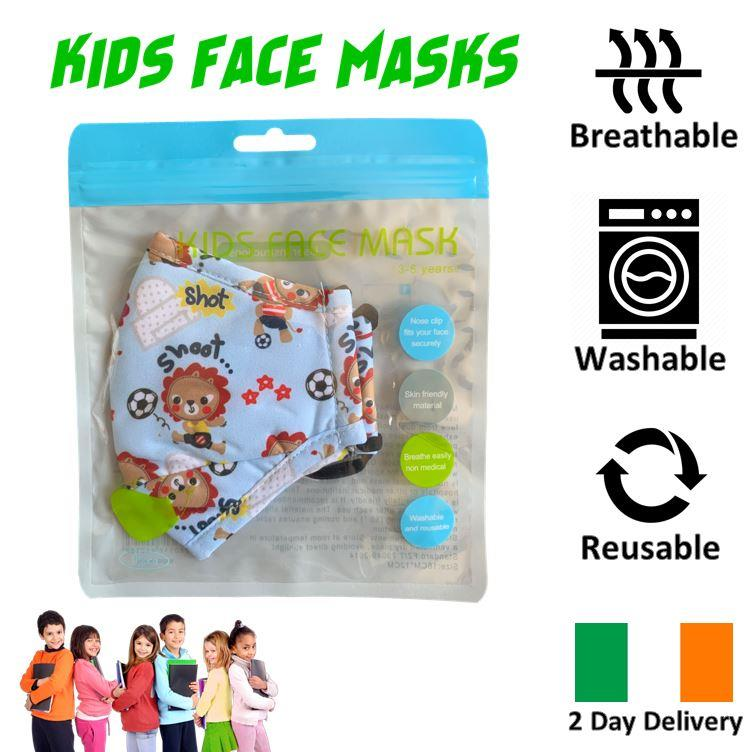 KIDS-FACE-MASK-ULTRA-SOFT-BREATHABLE-amp-WASHABLE-IRISH-2-DAY-DELIVERY-6-STYLES thumbnail 19