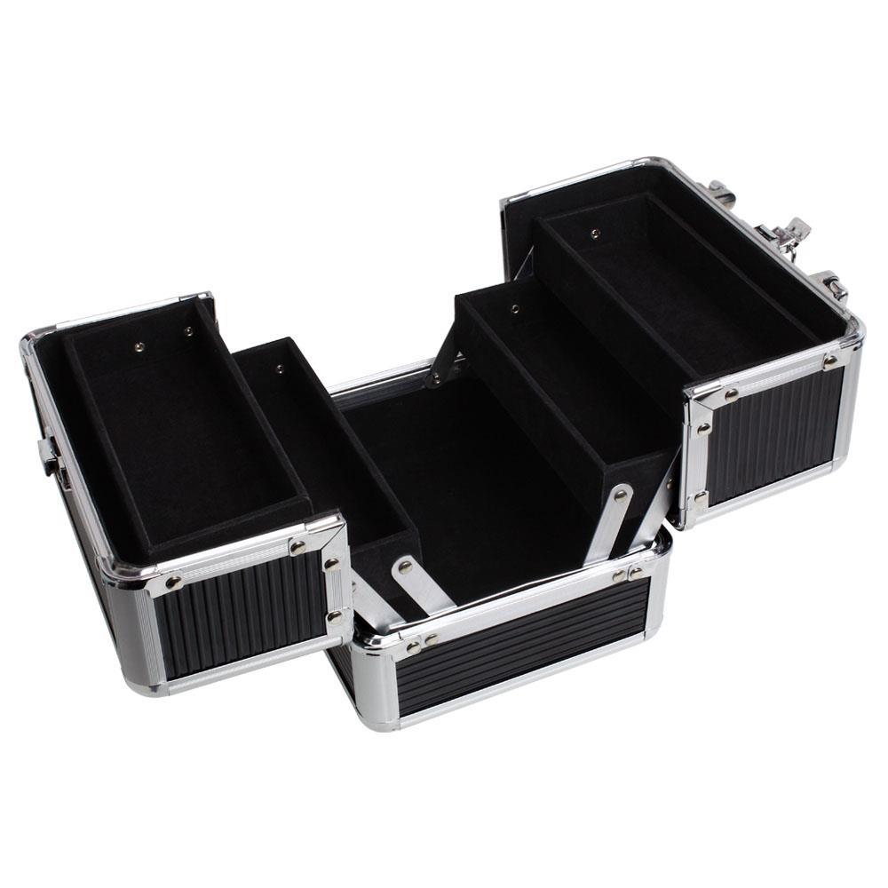 Duro-De-Aluminio-Caja-de-almacenamiento-de-Viaje-Maquillaje-Belleza-Cosmeticos-Caja-de-vanidad miniatura 4