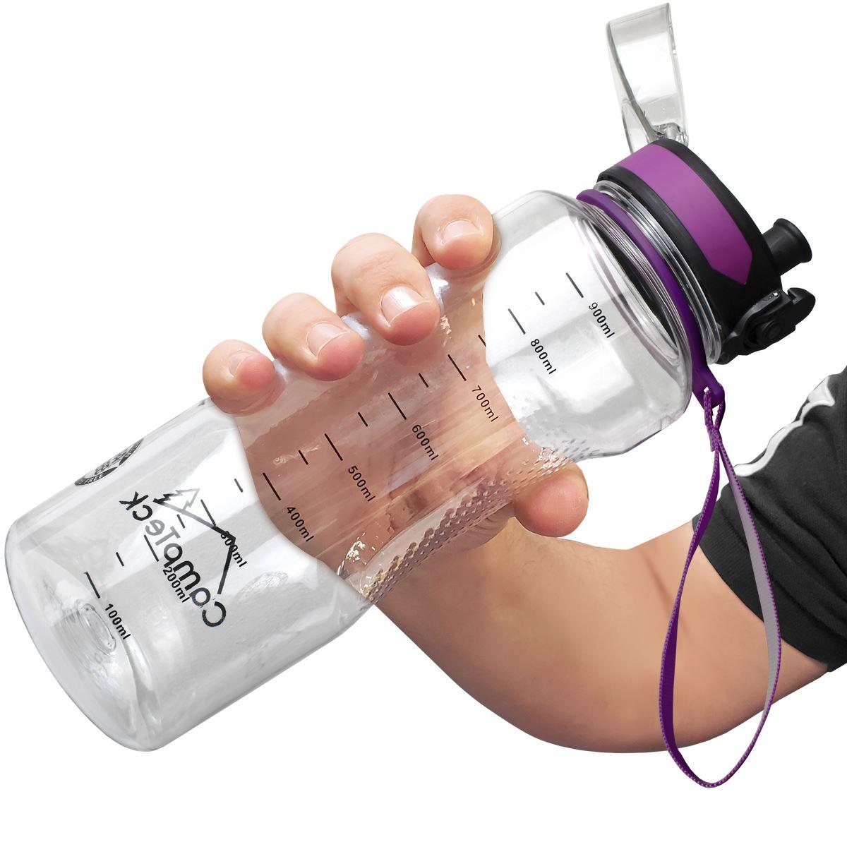 Sports-1-Litre-Water-Bottle-1000ml-BPA-Free-Leak-Proof-Drinks-Flip-Lock-Lid thumbnail 12