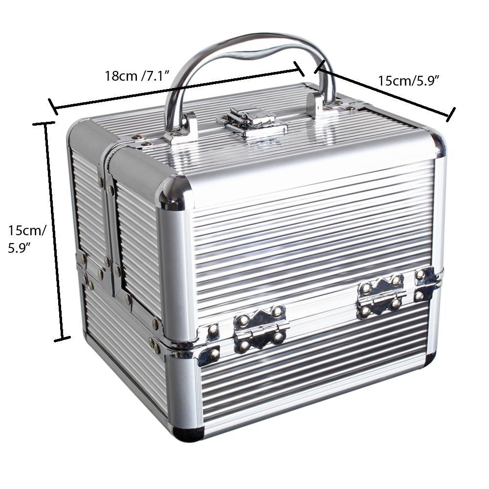 Duro-De-Aluminio-Caja-de-almacenamiento-de-Viaje-Maquillaje-Belleza-Cosmeticos-Caja-de-vanidad miniatura 11
