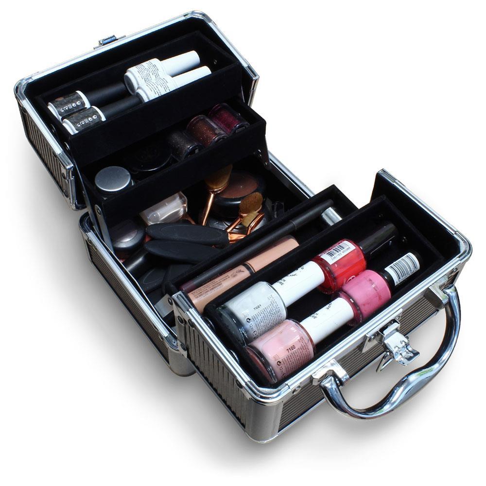 Duro-De-Aluminio-Caja-de-almacenamiento-de-Viaje-Maquillaje-Belleza-Cosmeticos-Caja-de-vanidad miniatura 5