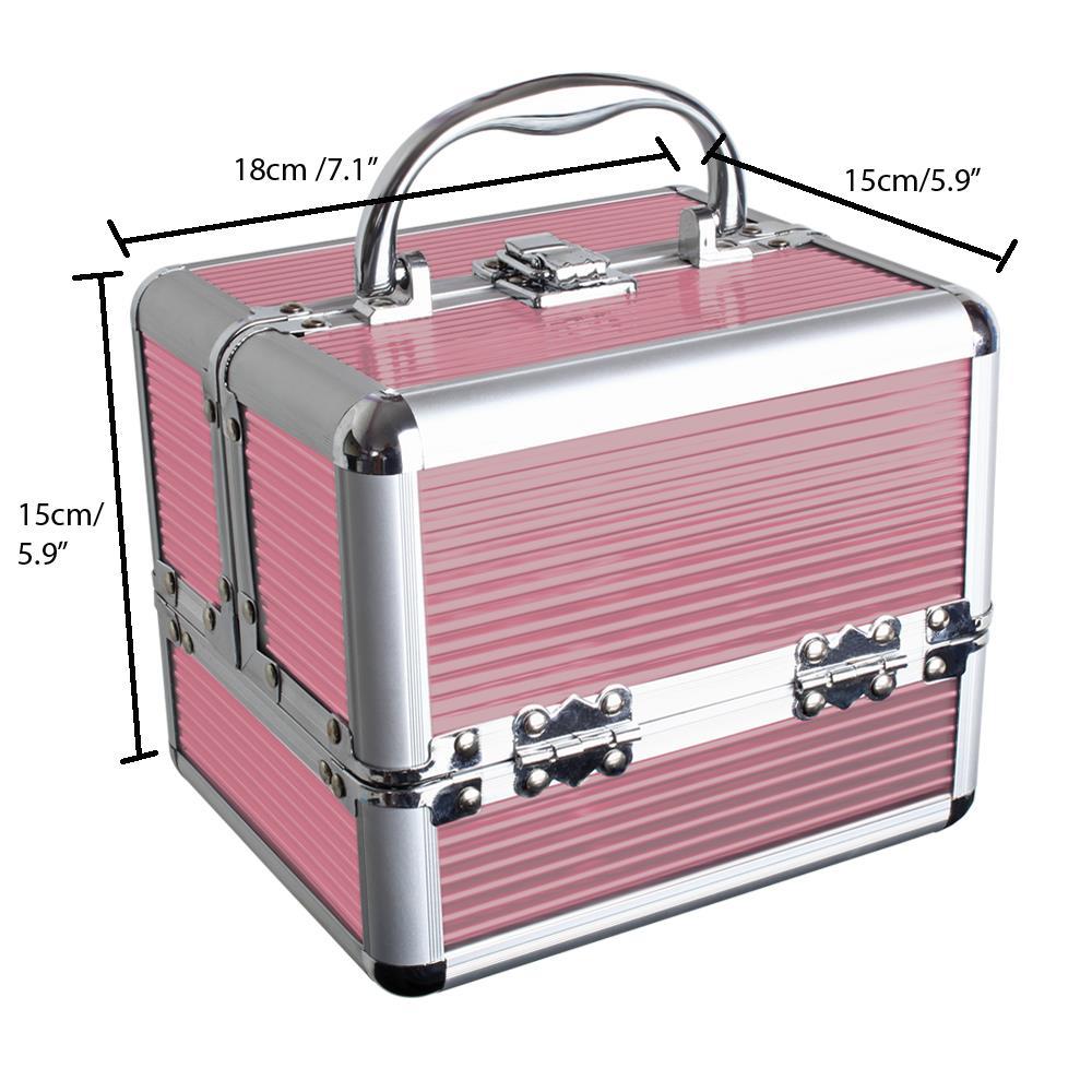 Duro-De-Aluminio-Caja-de-almacenamiento-de-Viaje-Maquillaje-Belleza-Cosmeticos-Caja-de-vanidad miniatura 7