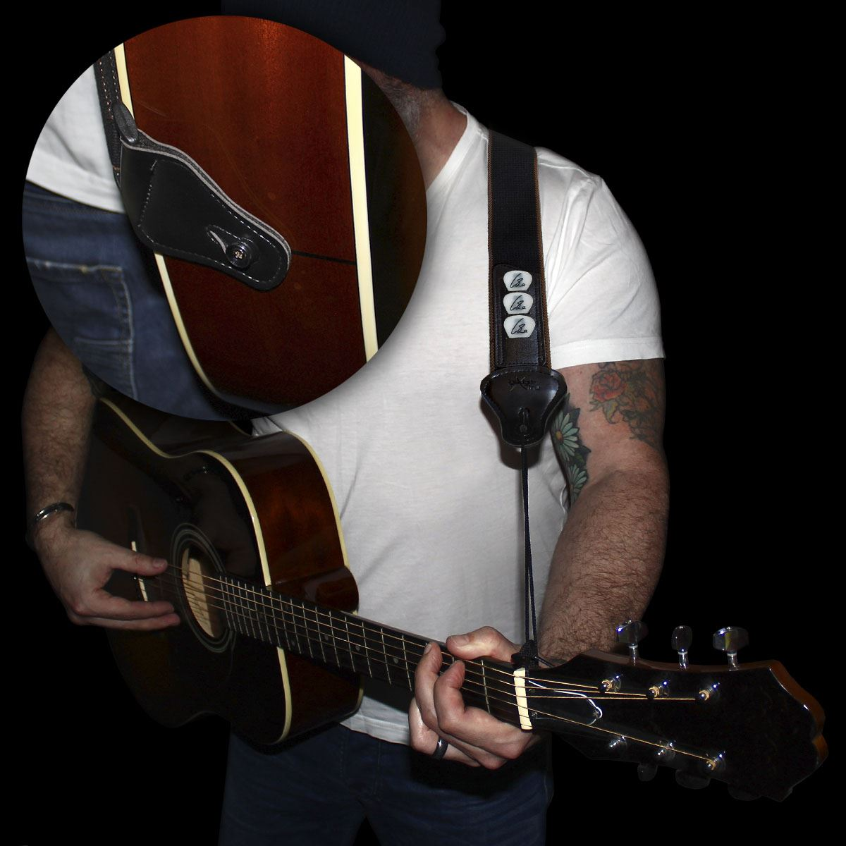 Cool-Adjustable-Acoustic-Bass-Electric-Folk-Classical-Neck-Guitar-Strap-Band-UK thumbnail 4
