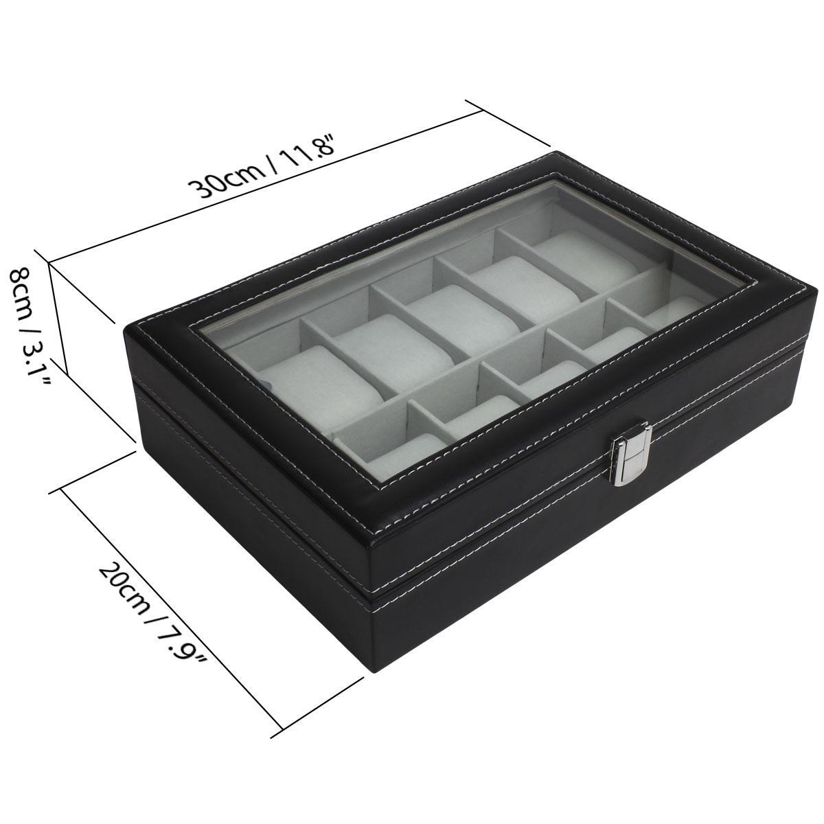6-12-Watch-Case-Display-Box-Storage-Travel-Men-Women-Ladies-Gents-Jewellery thumbnail 6