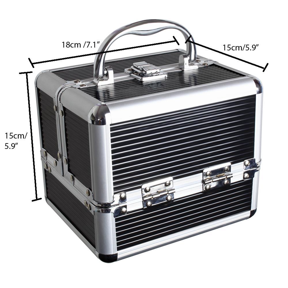 Duro-De-Aluminio-Caja-de-almacenamiento-de-Viaje-Maquillaje-Belleza-Cosmeticos-Caja-de-vanidad miniatura 3
