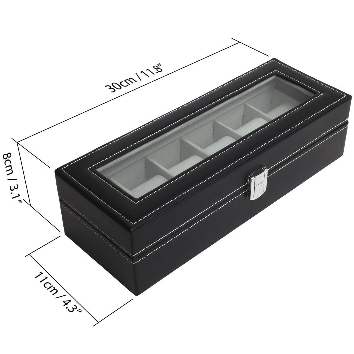 6-12-Watch-Case-Display-Box-Storage-Travel-Men-Women-Ladies-Gents-Jewellery thumbnail 3