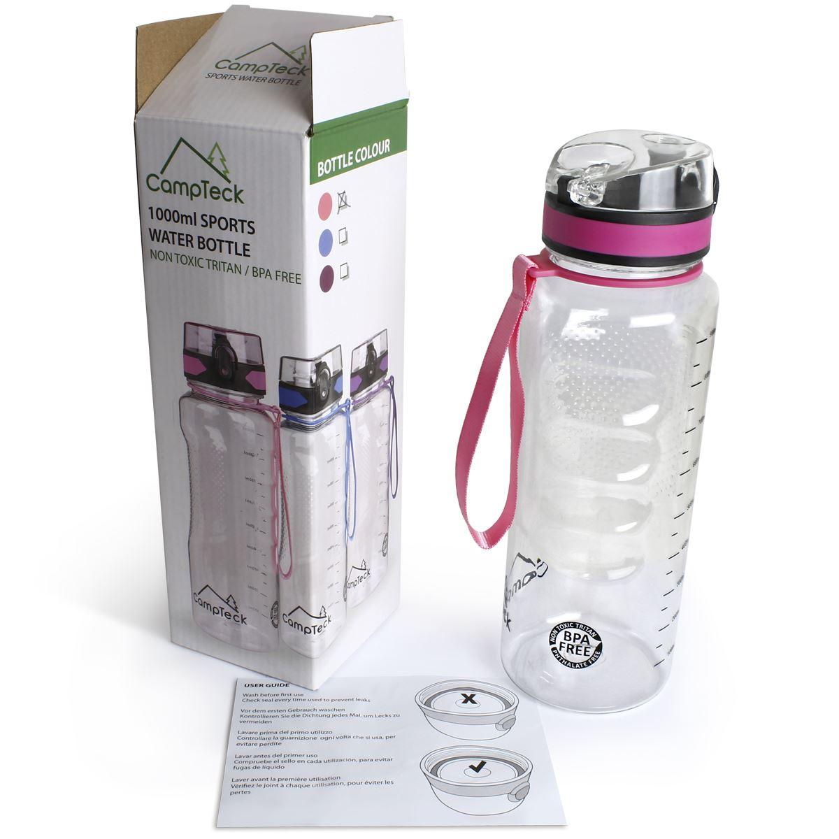 Sports-1-Litre-Water-Bottle-1000ml-BPA-Free-Leak-Proof-Drinks-Flip-Lock-Lid thumbnail 7