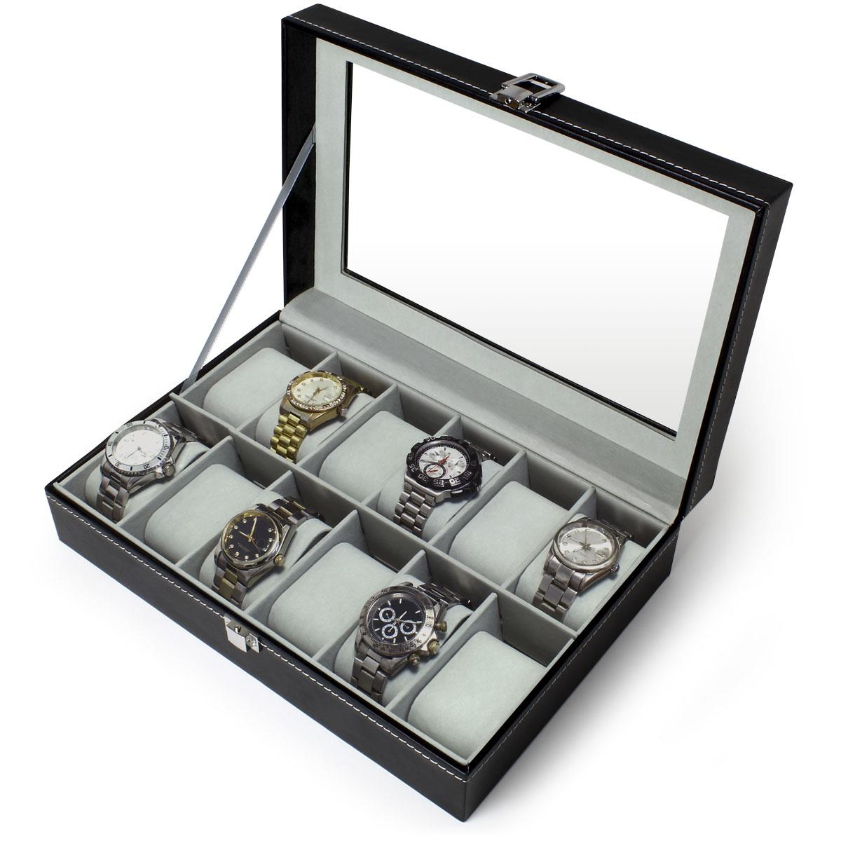 6-12-Watch-Case-Display-Box-Storage-Travel-Men-Women-Ladies-Gents-Jewellery thumbnail 7
