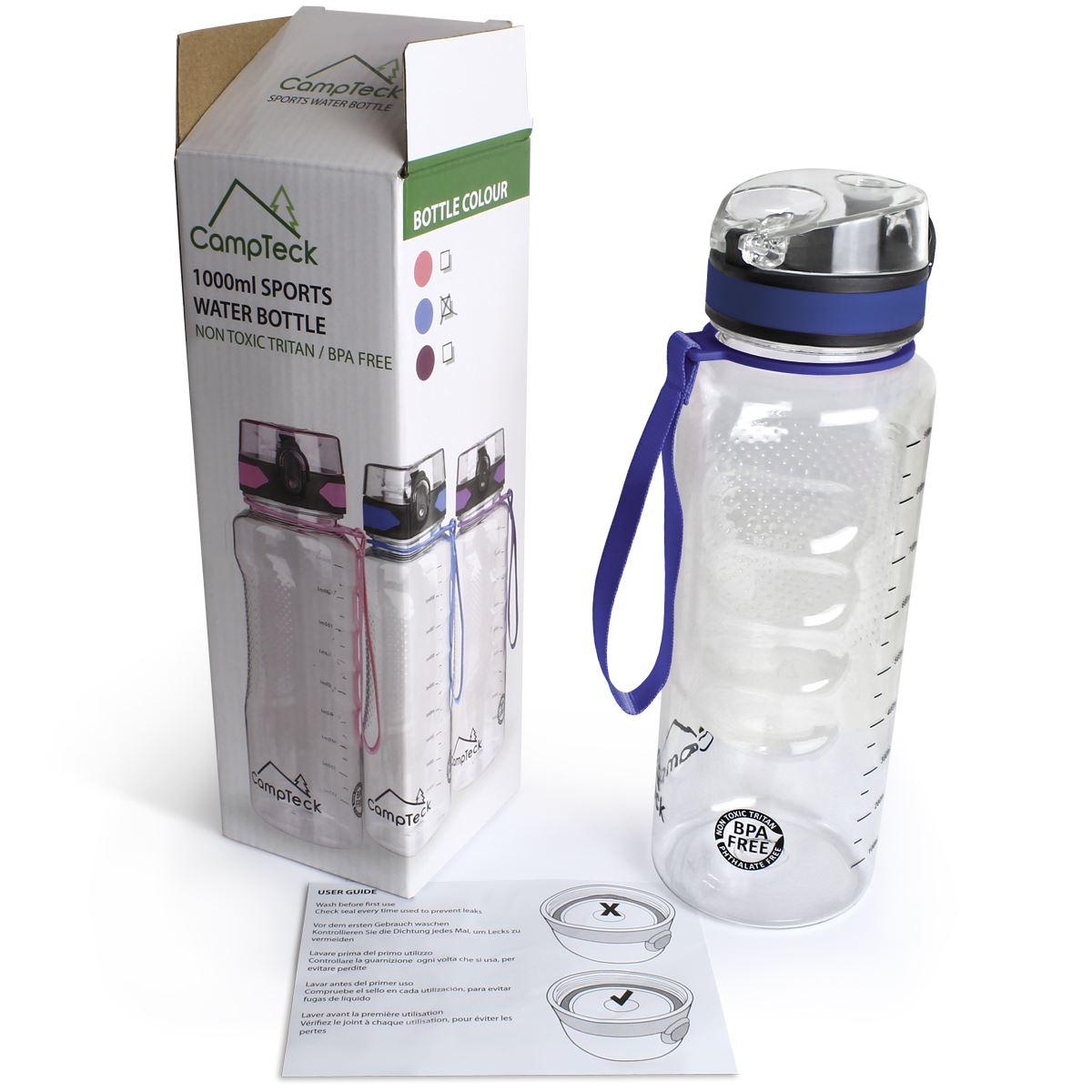 Sports-1-Litre-Water-Bottle-1000ml-BPA-Free-Leak-Proof-Drinks-Flip-Lock-Lid thumbnail 3