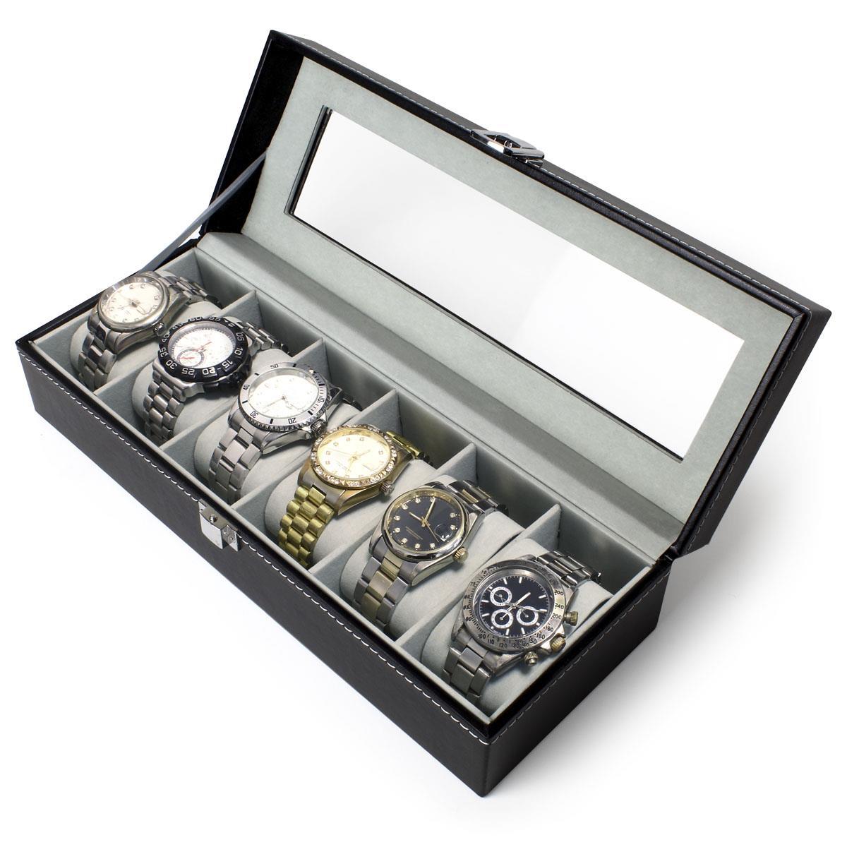 6-12-Watch-Case-Display-Box-Storage-Travel-Men-Women-Ladies-Gents-Jewellery thumbnail 4