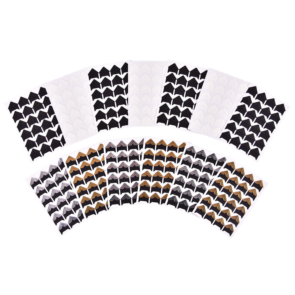 24 Pcs//Sheet HAN SHENG 25 Sheets Self-Adhesive Photo Mounting Corners Photo Corners Stickers for DIY Scrapbooking Picture Album Personal Journal